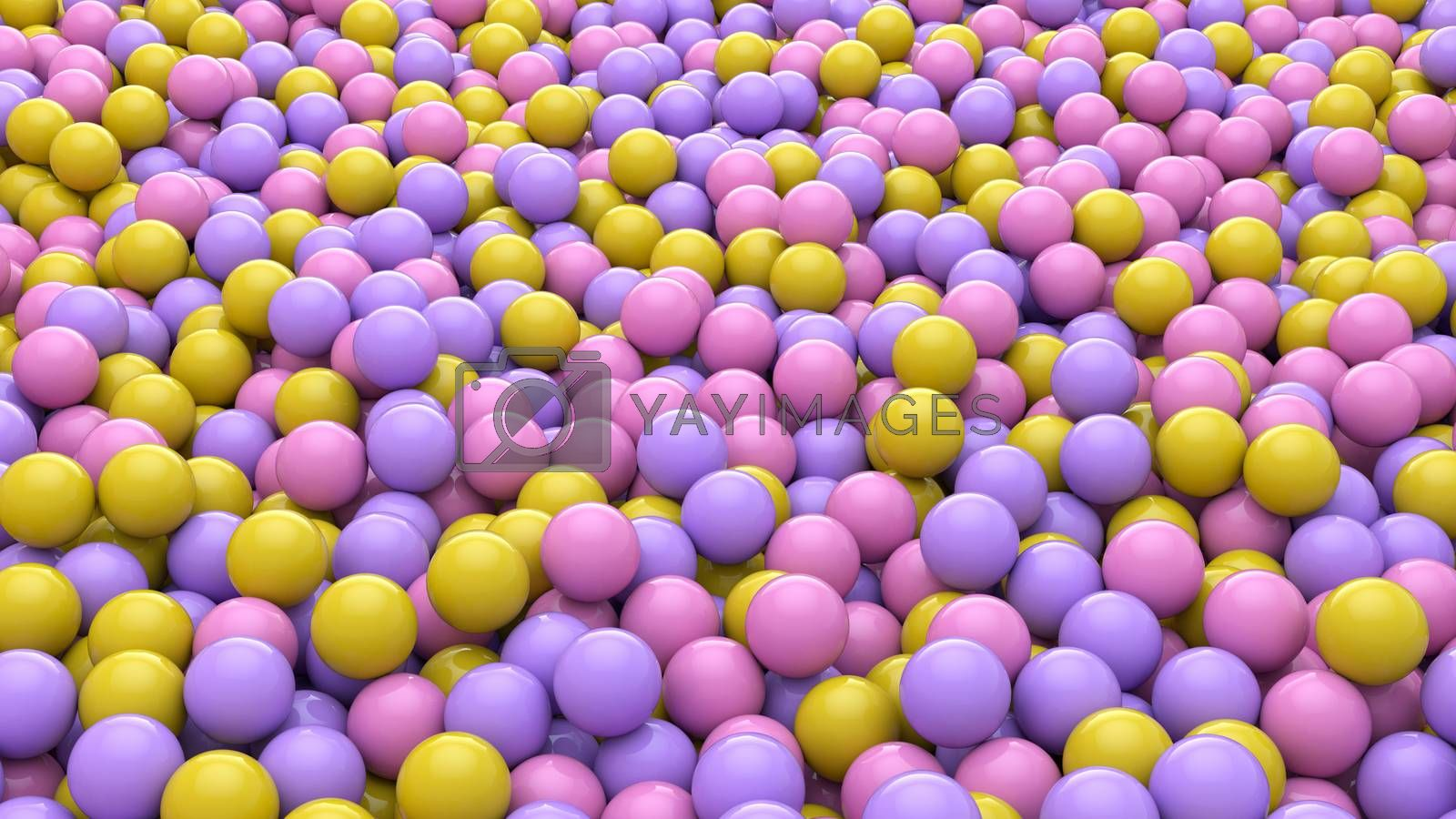 3d render of Abstract colorful spheres balls background. Primitive shapes, minimalistic design, party decoration.