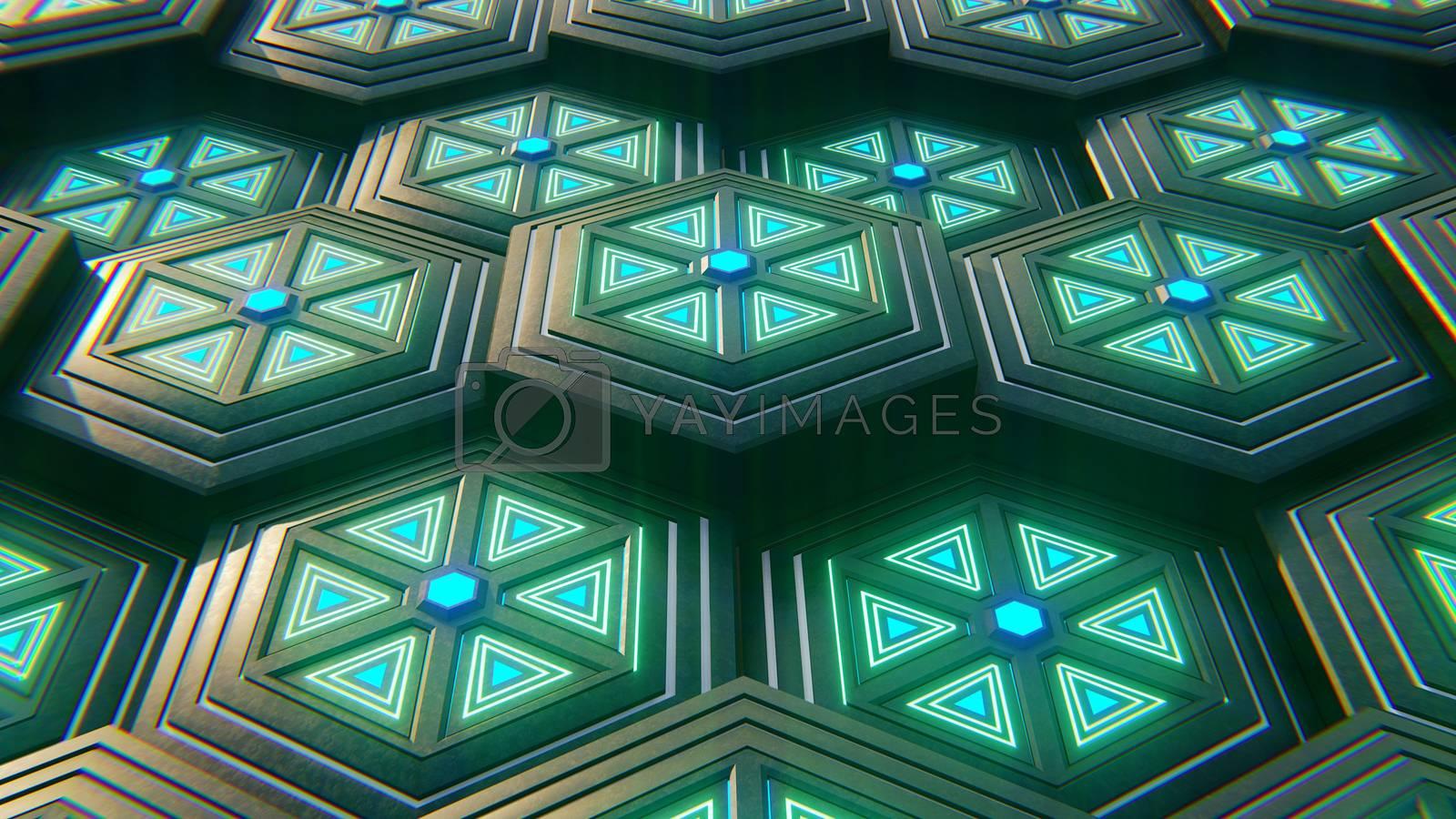 Black blue and orange hexagons background. Modern background. 3d by Teerawit Tj-rabbit