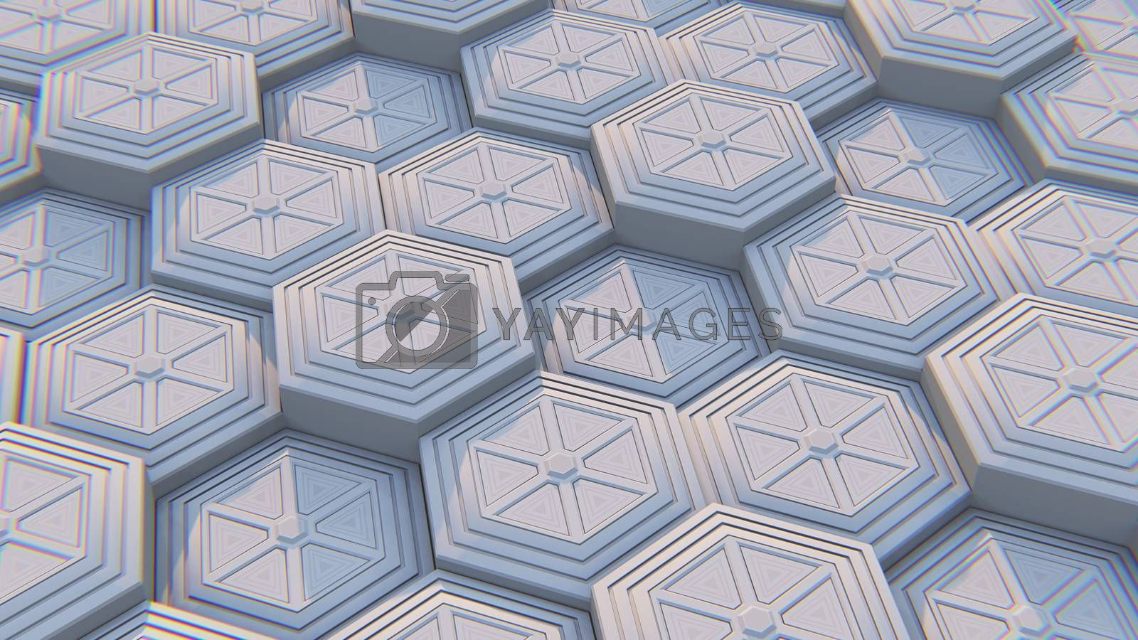 White geometric hexagonal abstract background. 3D illustration by Teerawit Tj-rabbit