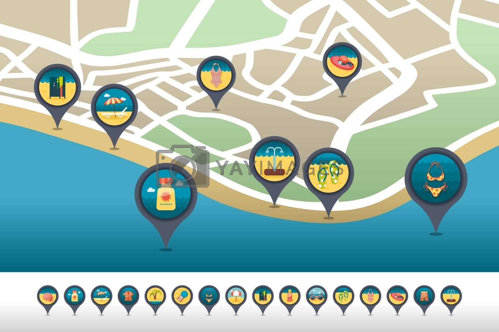 Beach pin map icon located on the map. Vacation by nosik