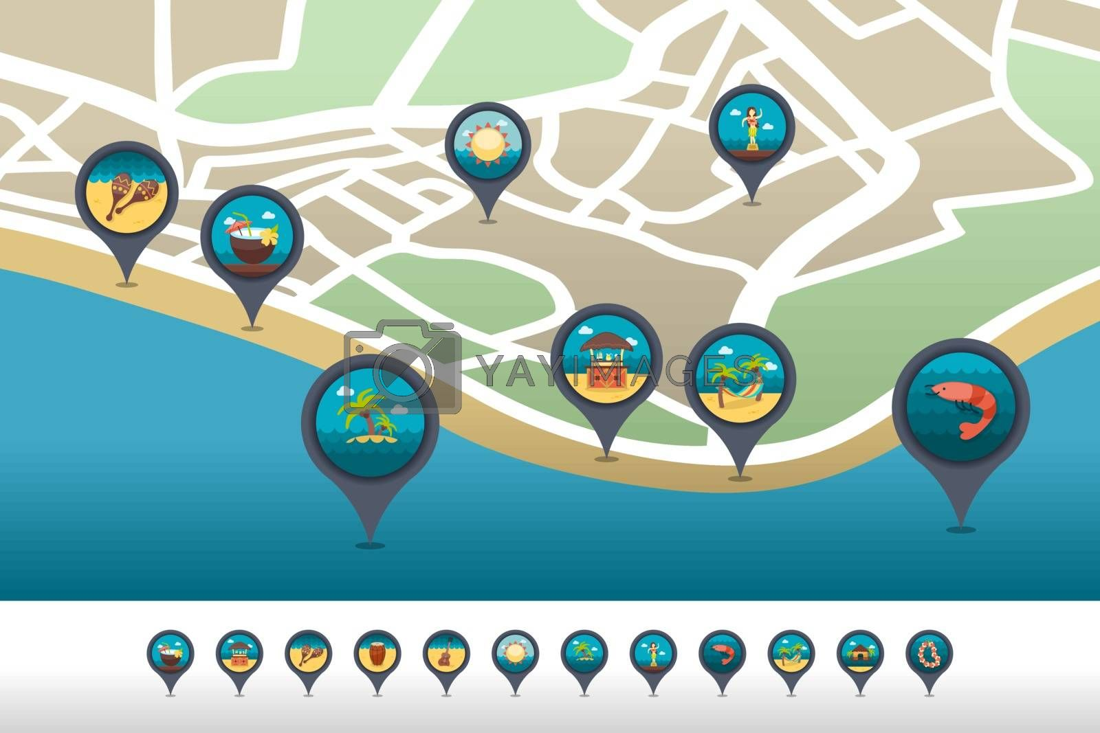 Island beach pin map icon located on the map by nosik
