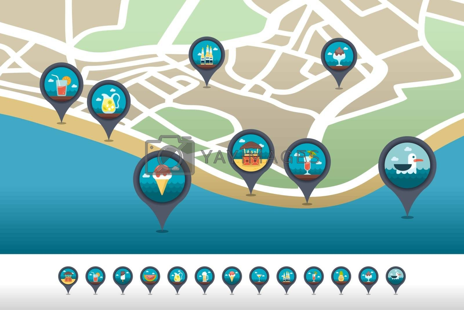 Bar beach pin map icon located on the map by nosik