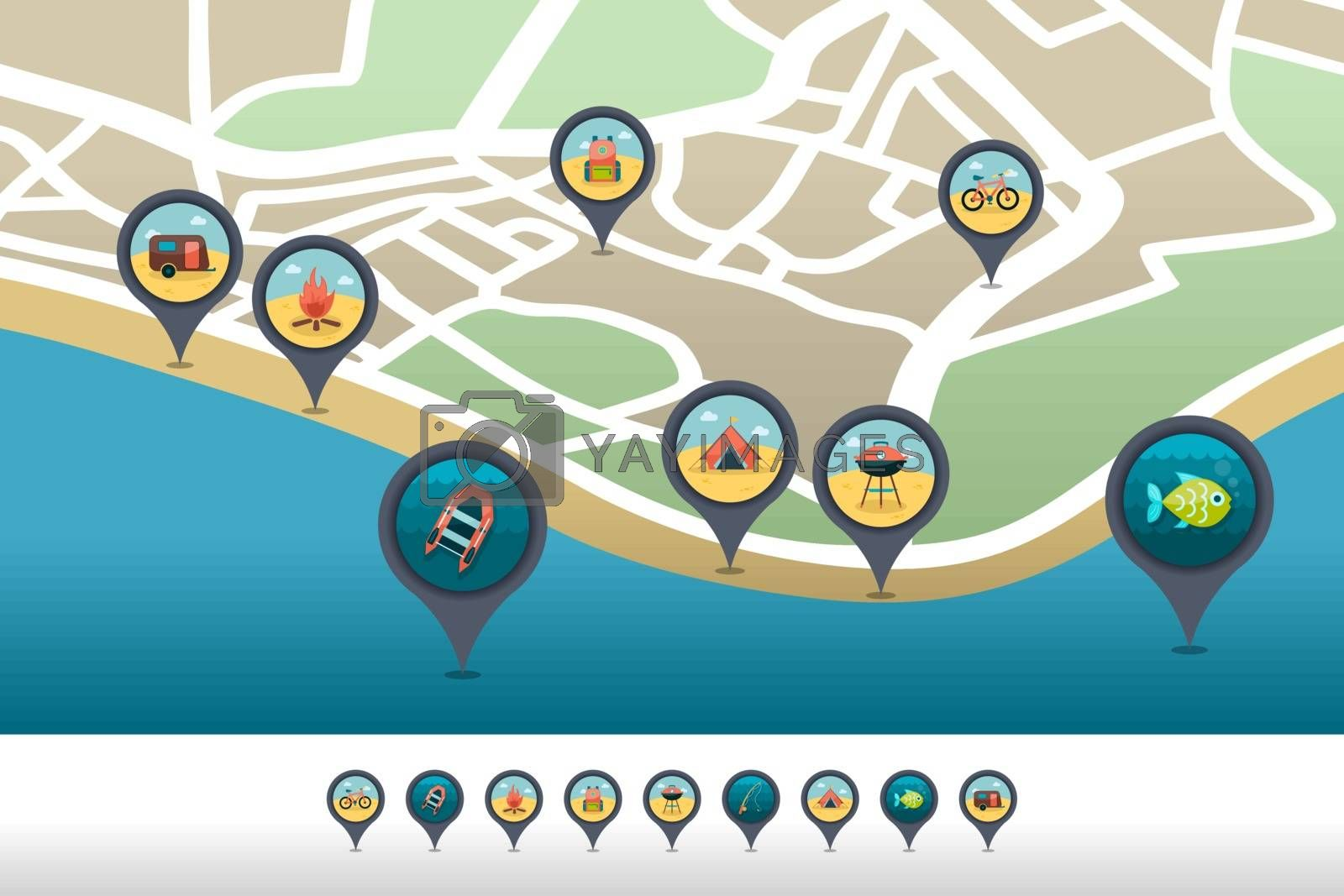 Summer camping pin map icon located on the map by nosik