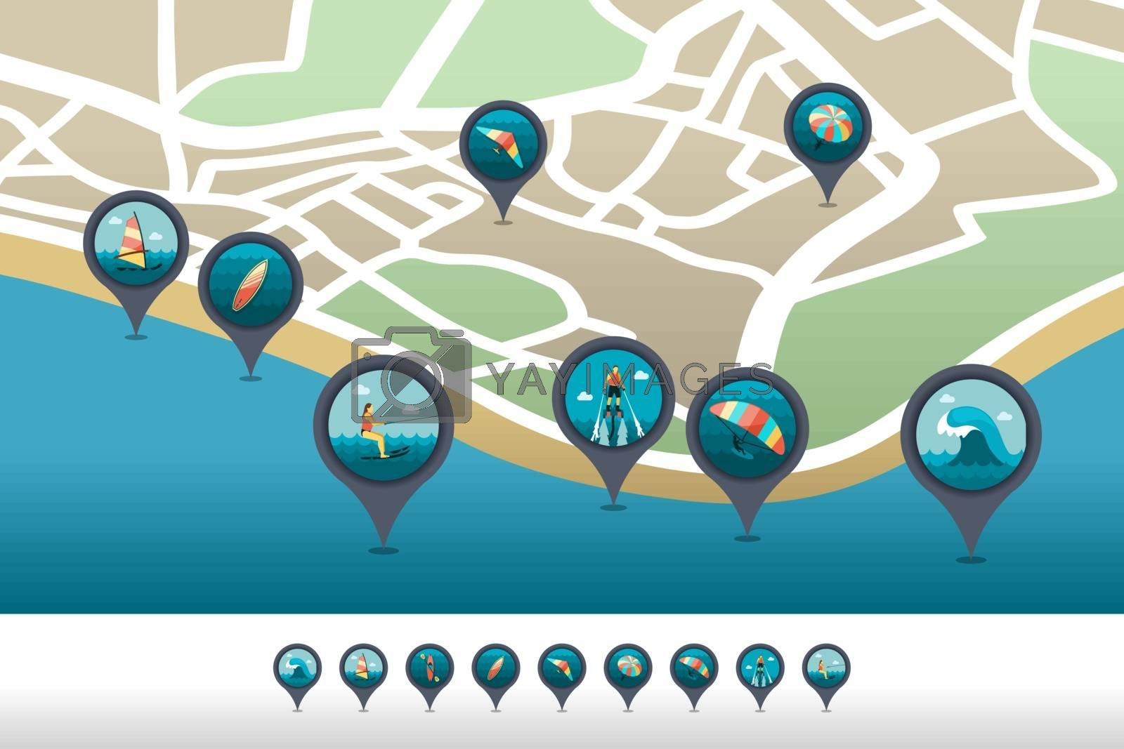 Extreme Water Sport pin map icon located on the map by nosik