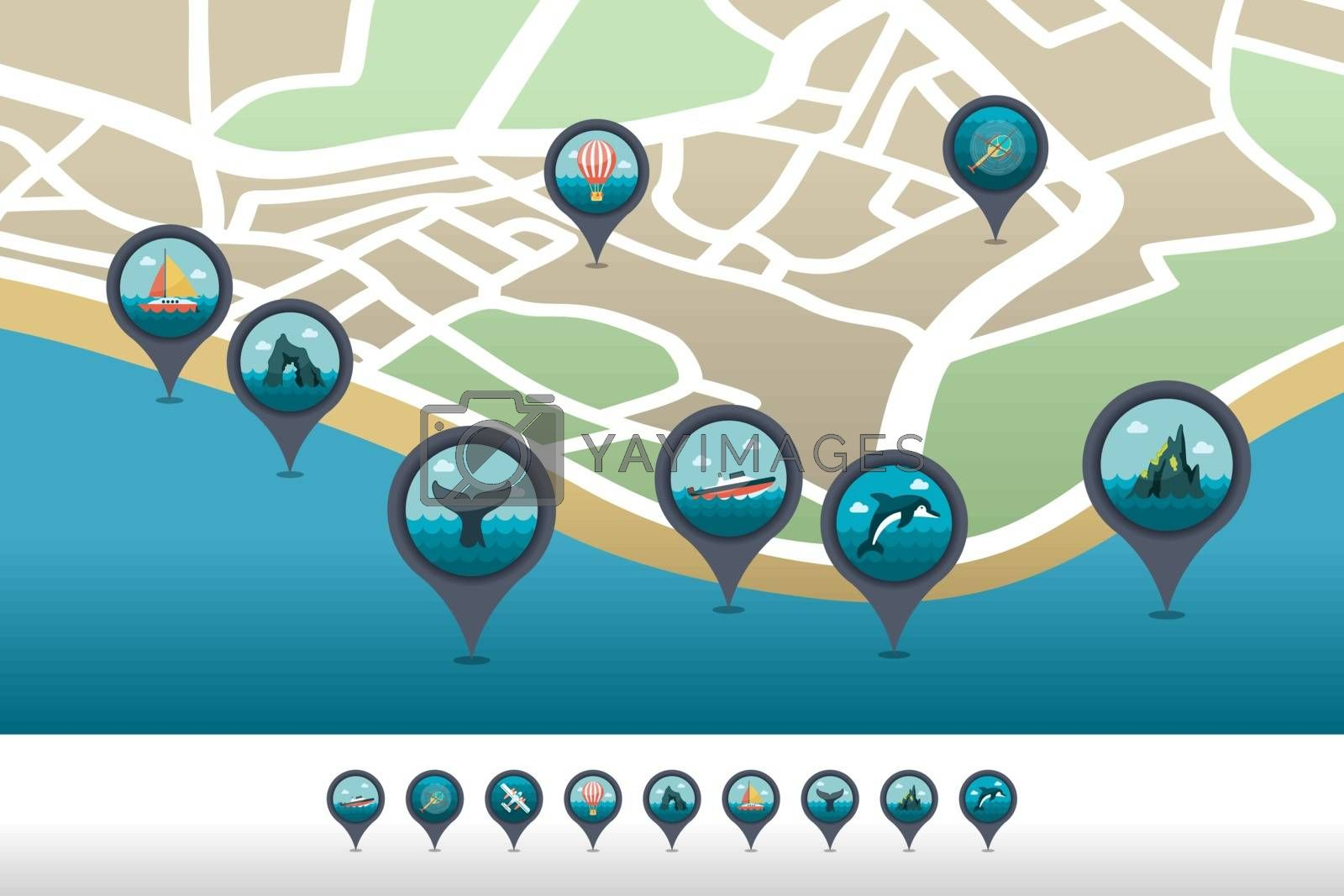 Excursion sea pin map icon located on the map by nosik