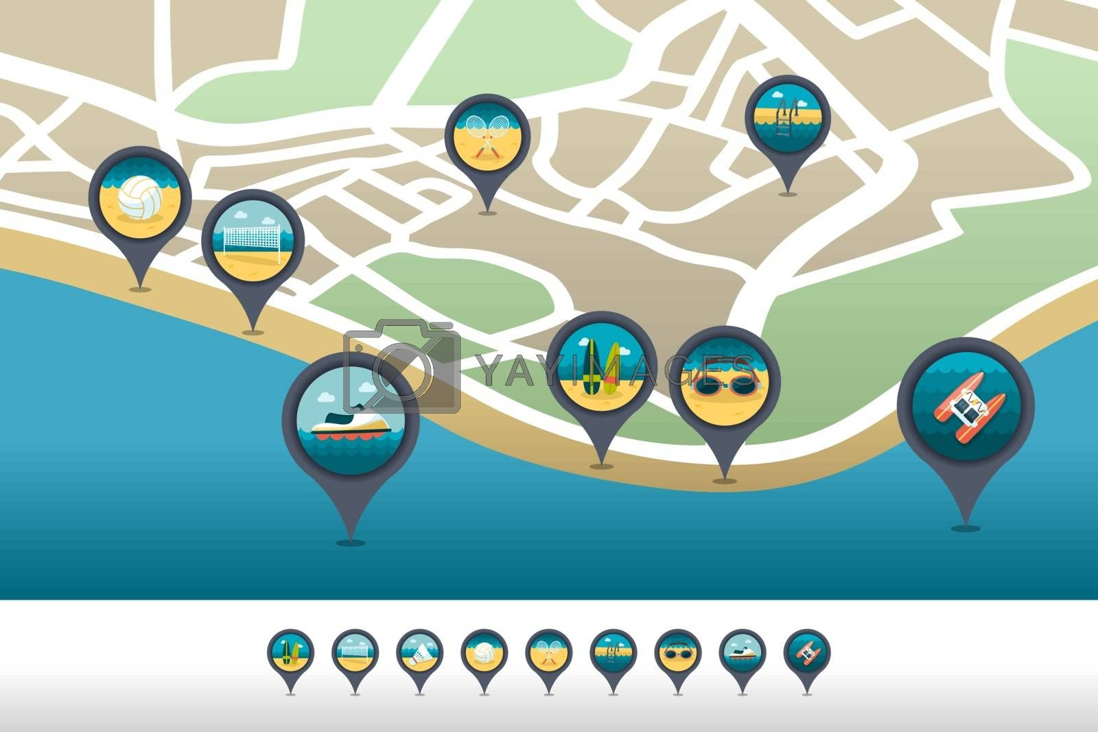Beach activity pin map icon located on the map by nosik