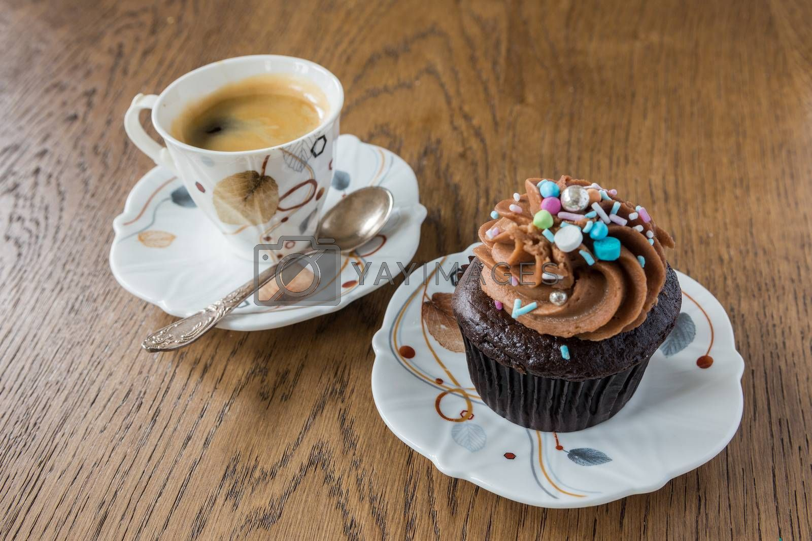 Black coffee and chocolate muffin with cream hat by ben44
