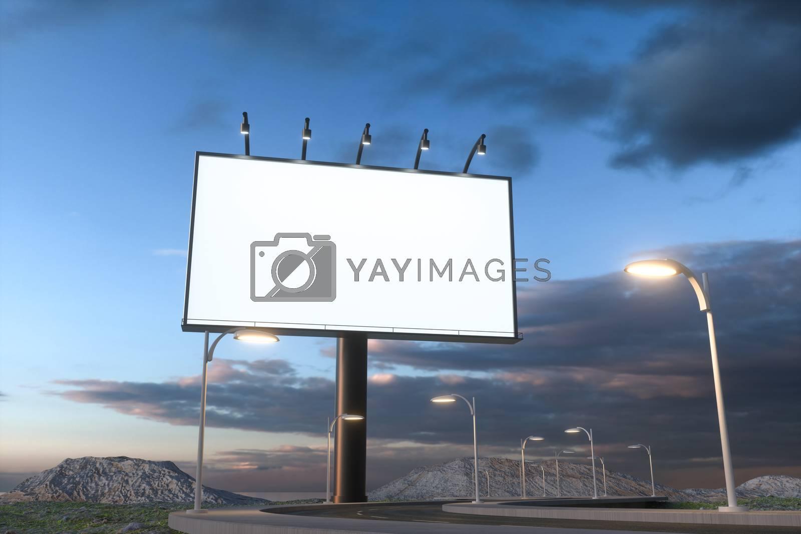 Blank advertising board and winding road, 3d rendering by vinkfan