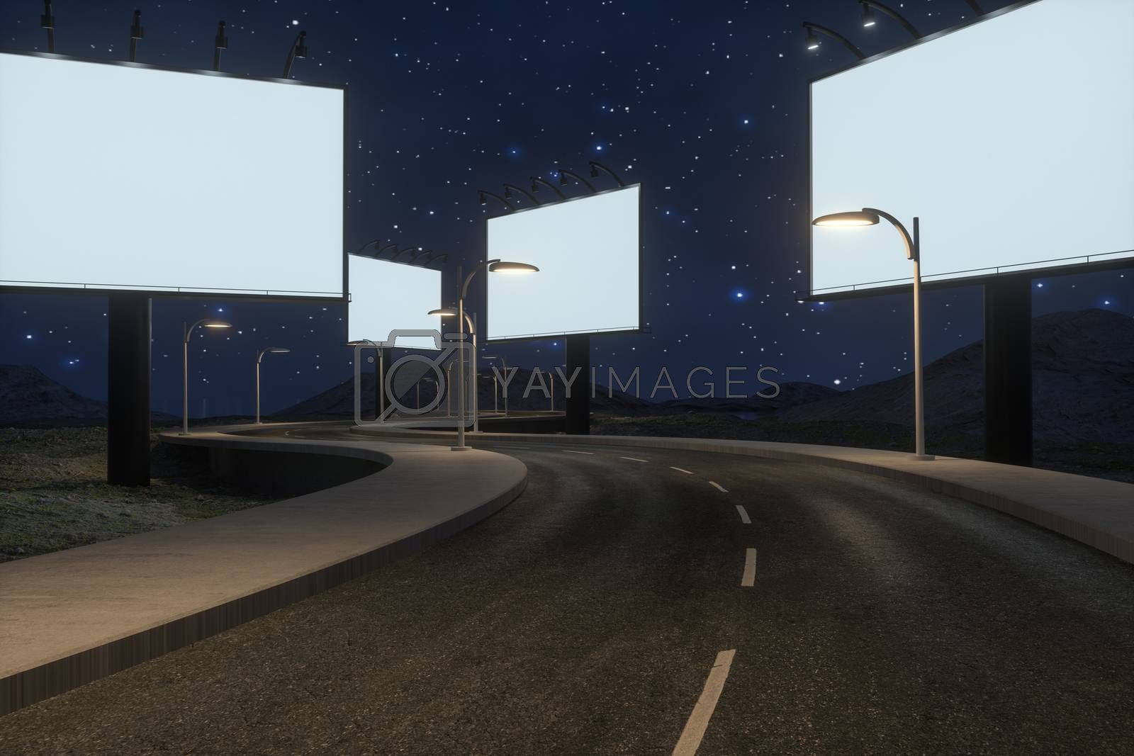 Blank advertising board and winding road, 3d rendering by vinkfan