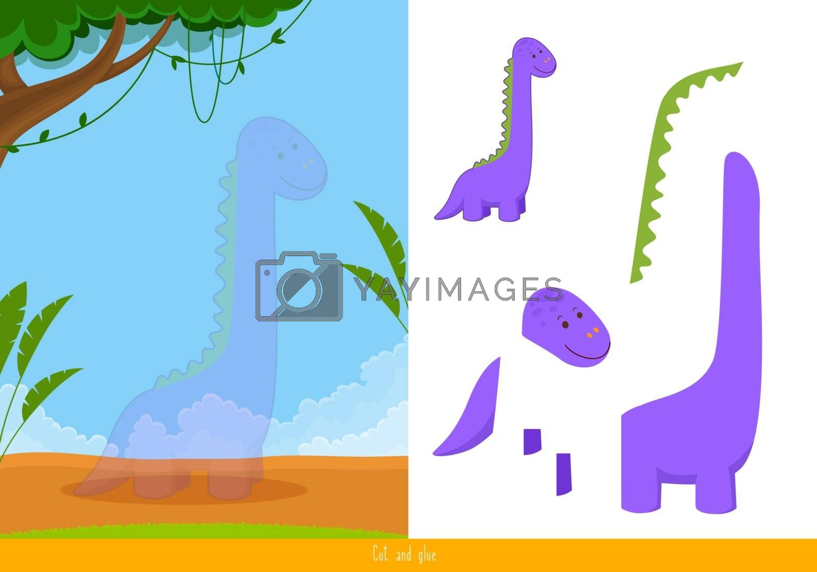 Educational children game; vector illustration. Cut and glue