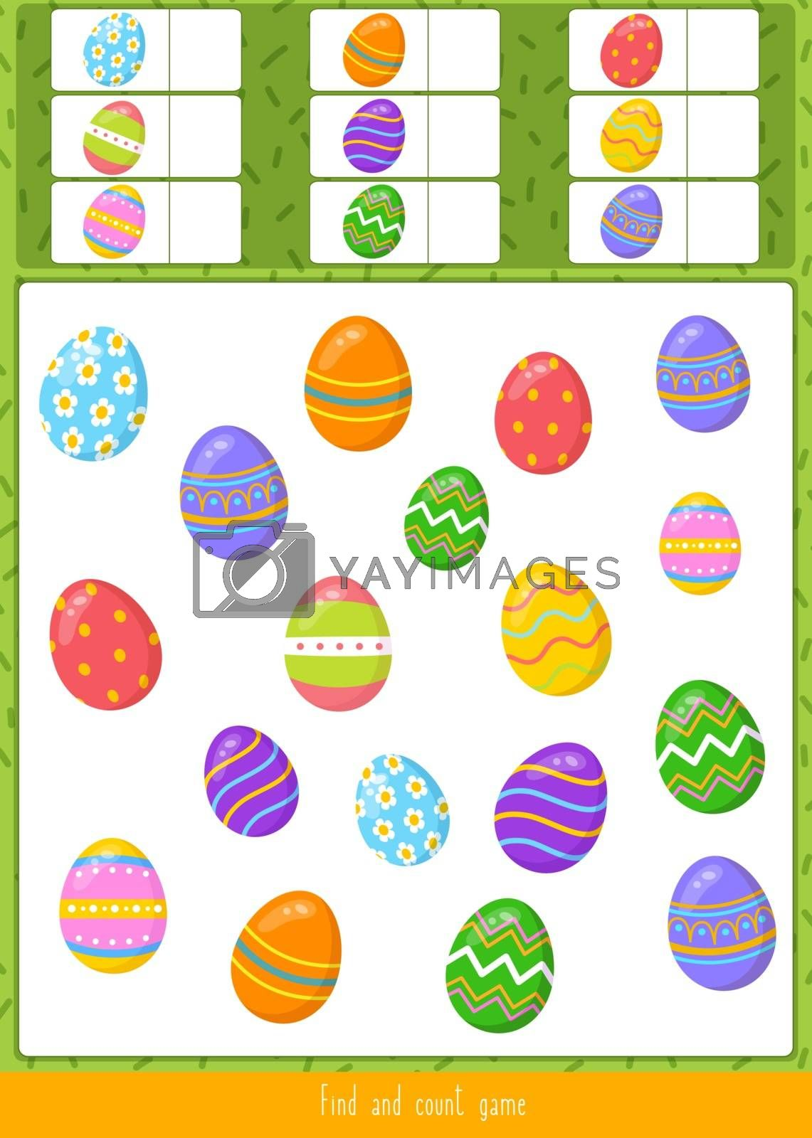 Educational children game, vector. Find and count all the objects.
