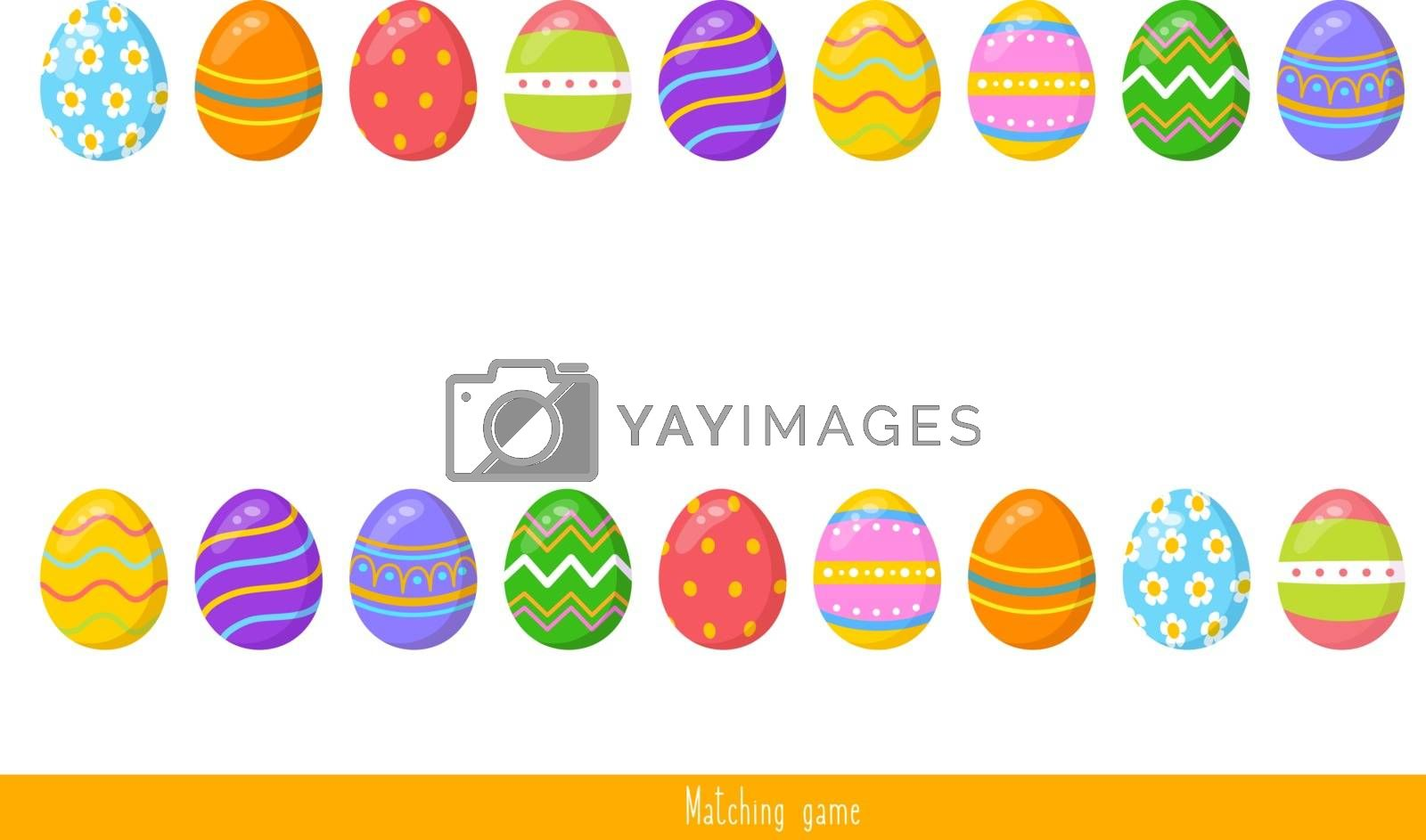 Educational children game, vector. Easter matching game