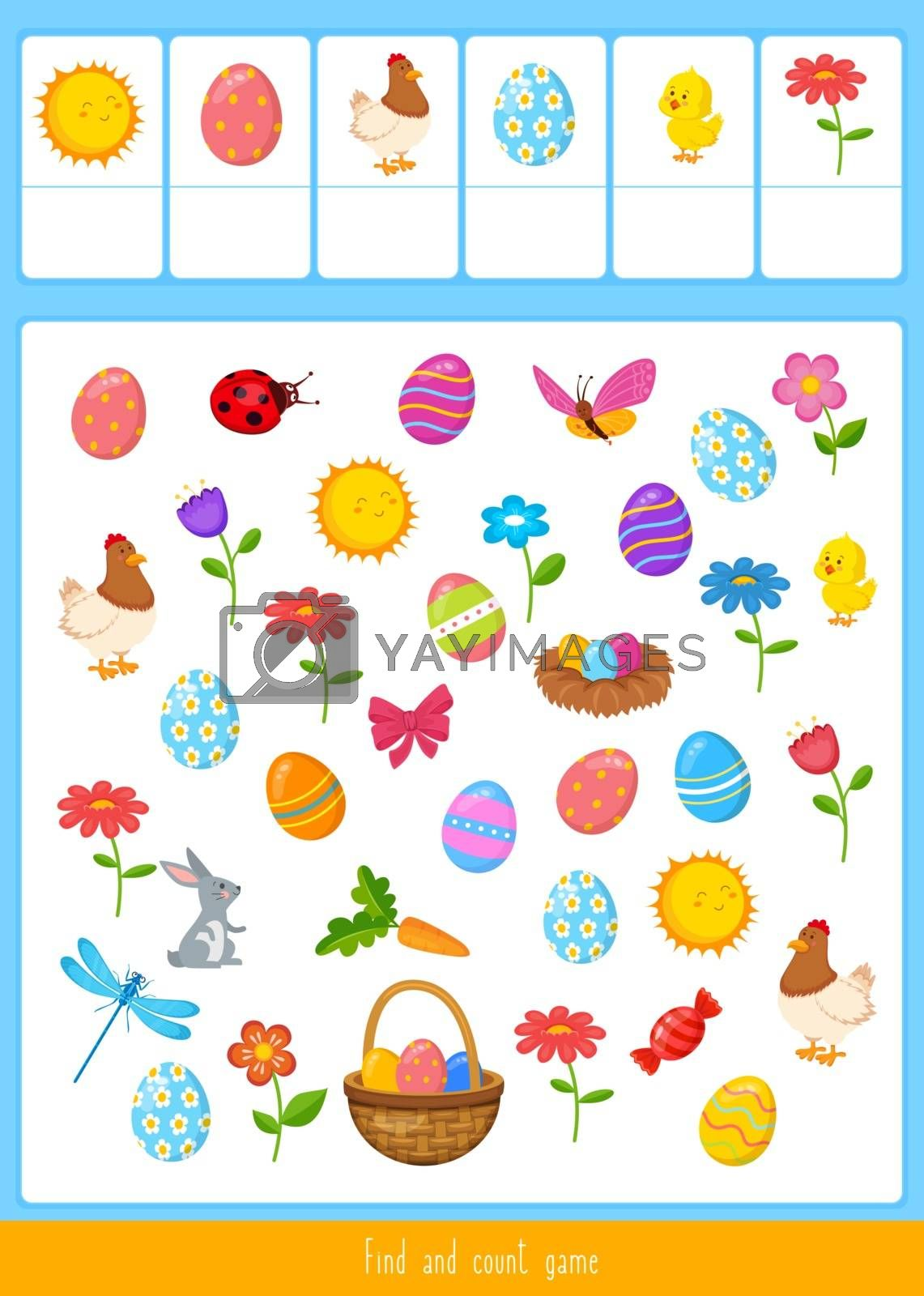 Educational children game, vector illustration.  Easter found and count.