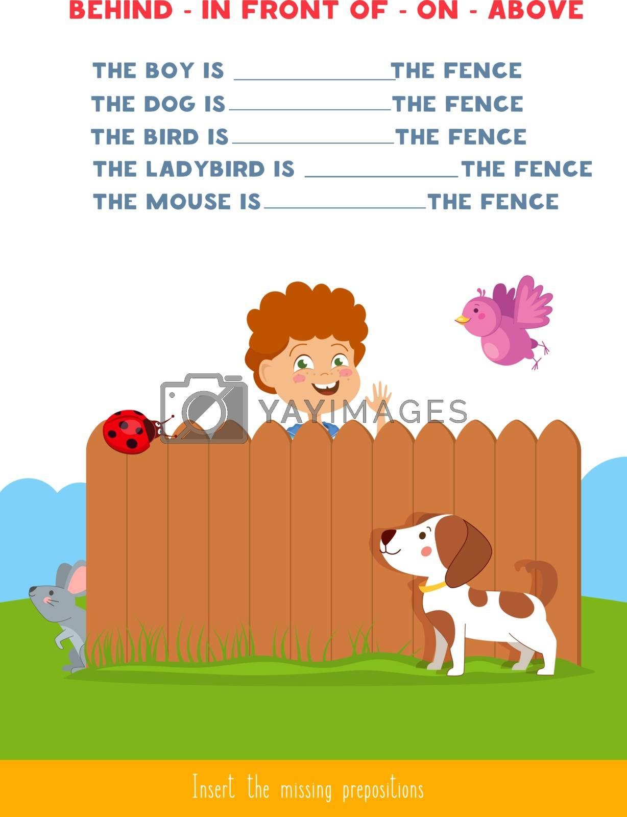 Educational children game. Insert the missing prepositions