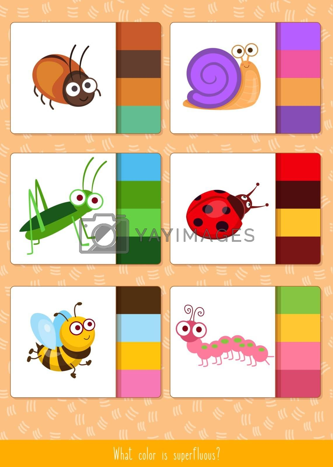 Educational children game, vector illustration. Match by color. Printable worksheet