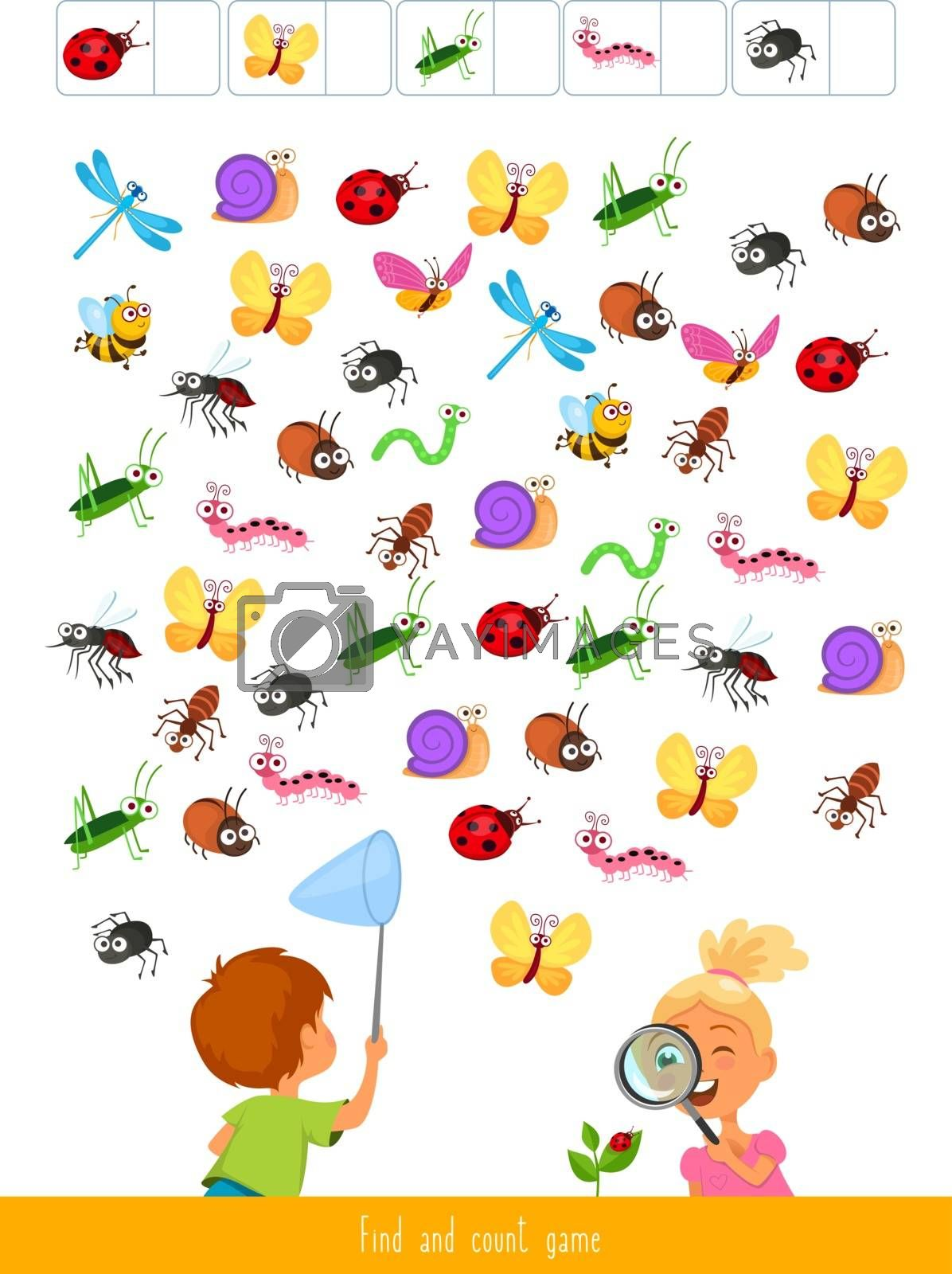 Educational children game, vector illustration. Find and count game.