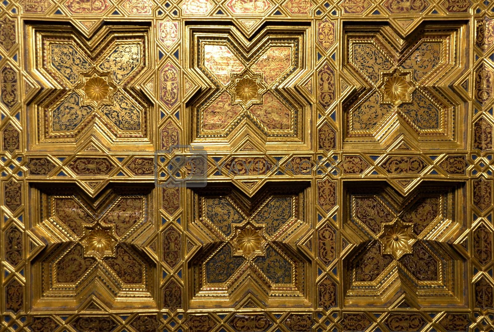 Golden background with traditional Arabes ornaments made with coffered ceiling