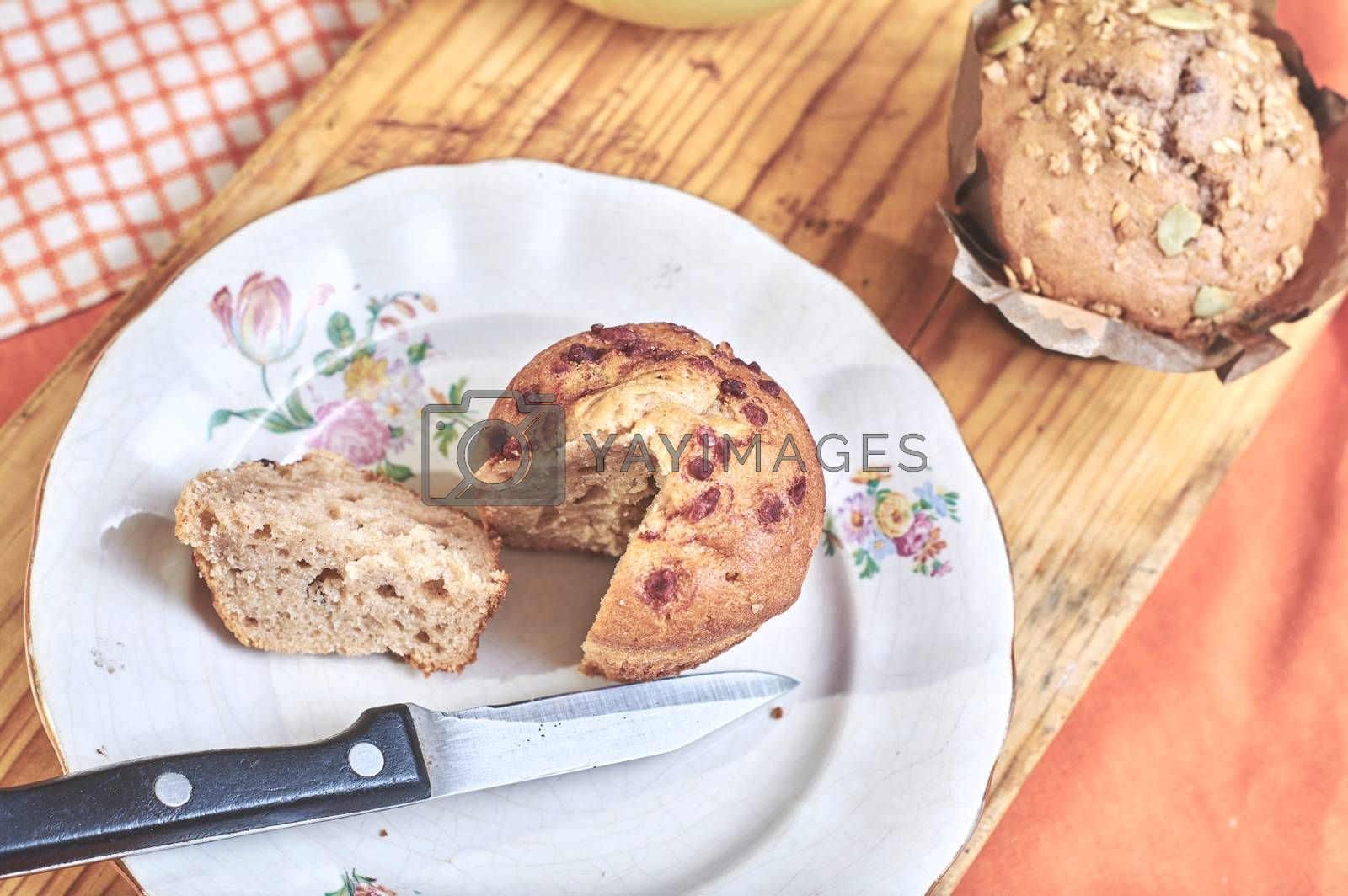 Royalty free image of Whole-grain cinnamon and apple muffins with seeds by Prf_photo