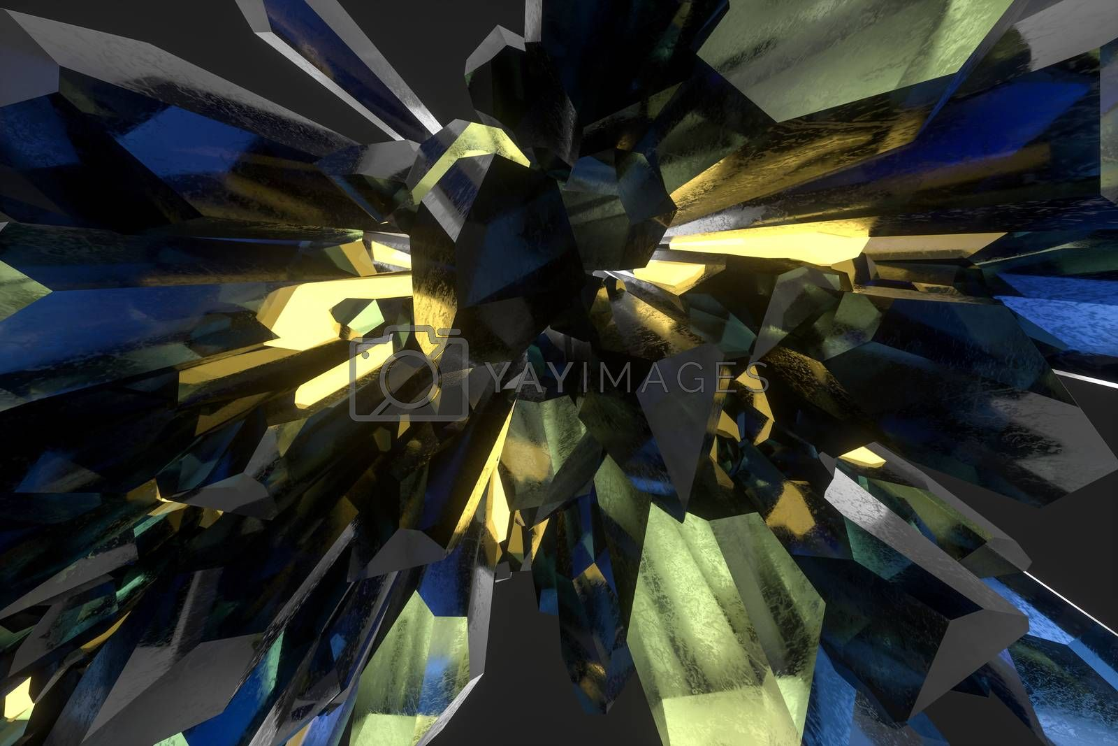 A cluster of precision-cut magic crystal, science fiction and magic theme, 3d rendering. by vinkfan