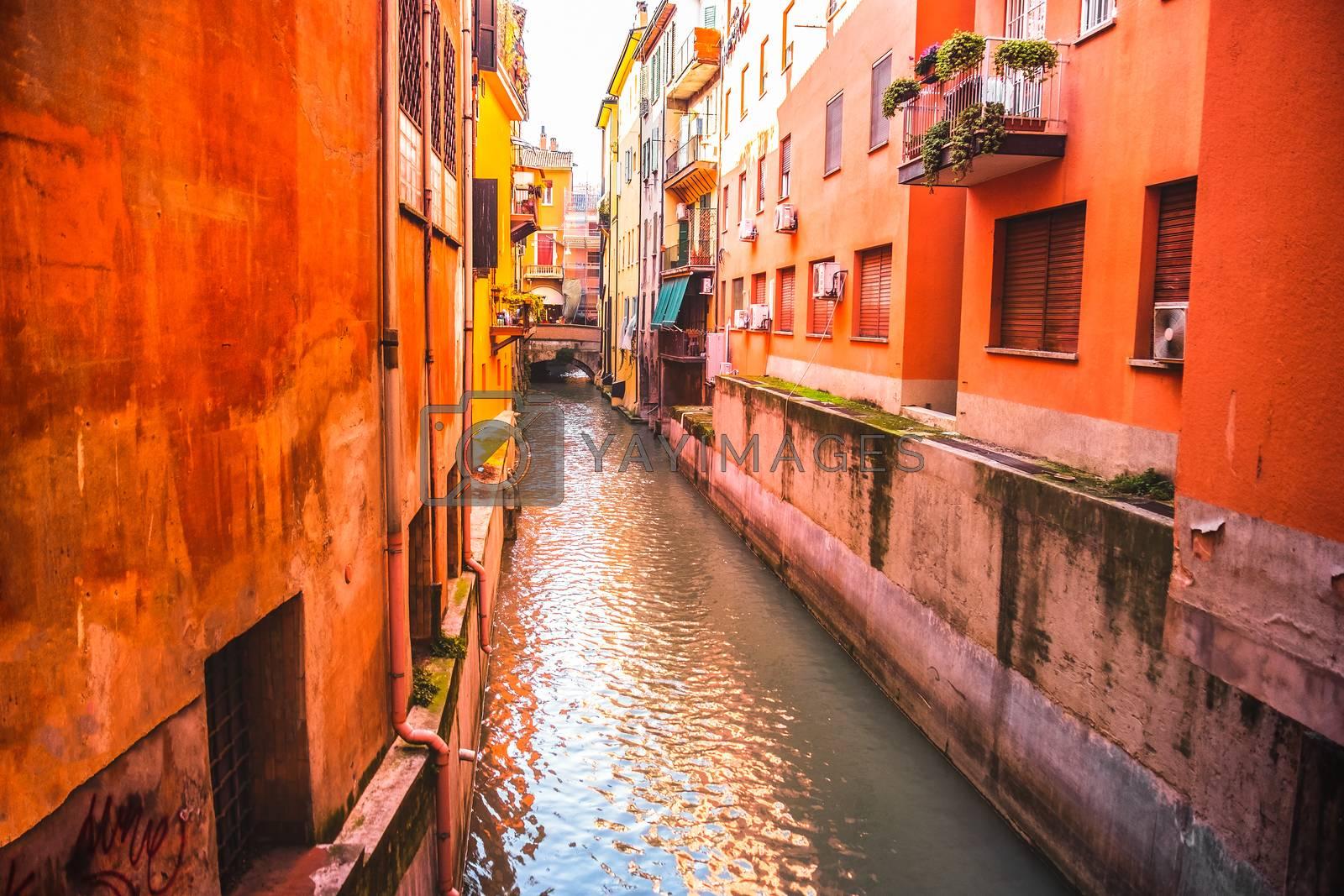 italian houses between the hidden canal of Reno river in Via Oberdan - Bologna - Emilia Romagna - Italy