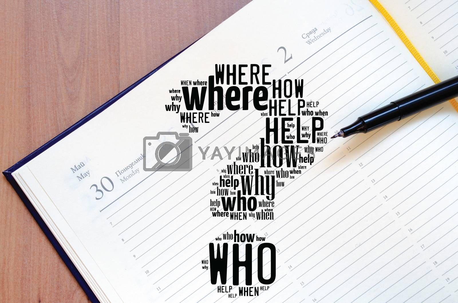 Question mark word cloud collage over notepad background