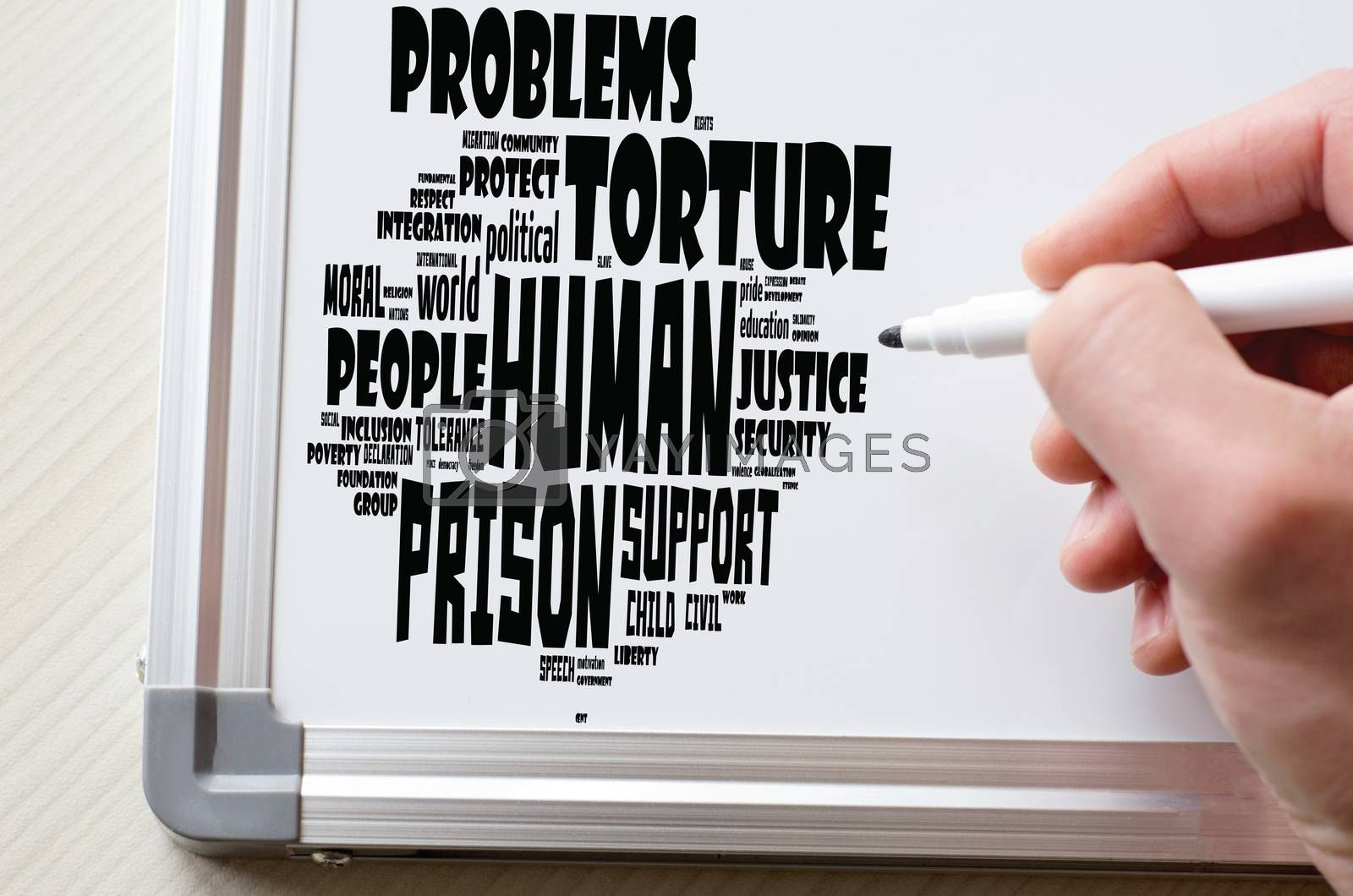 Human word cloud collage over white board background