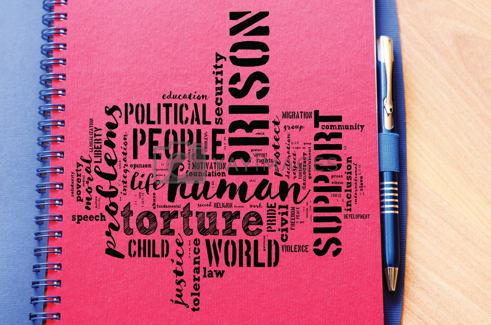 Human word cloud collage over notepad background