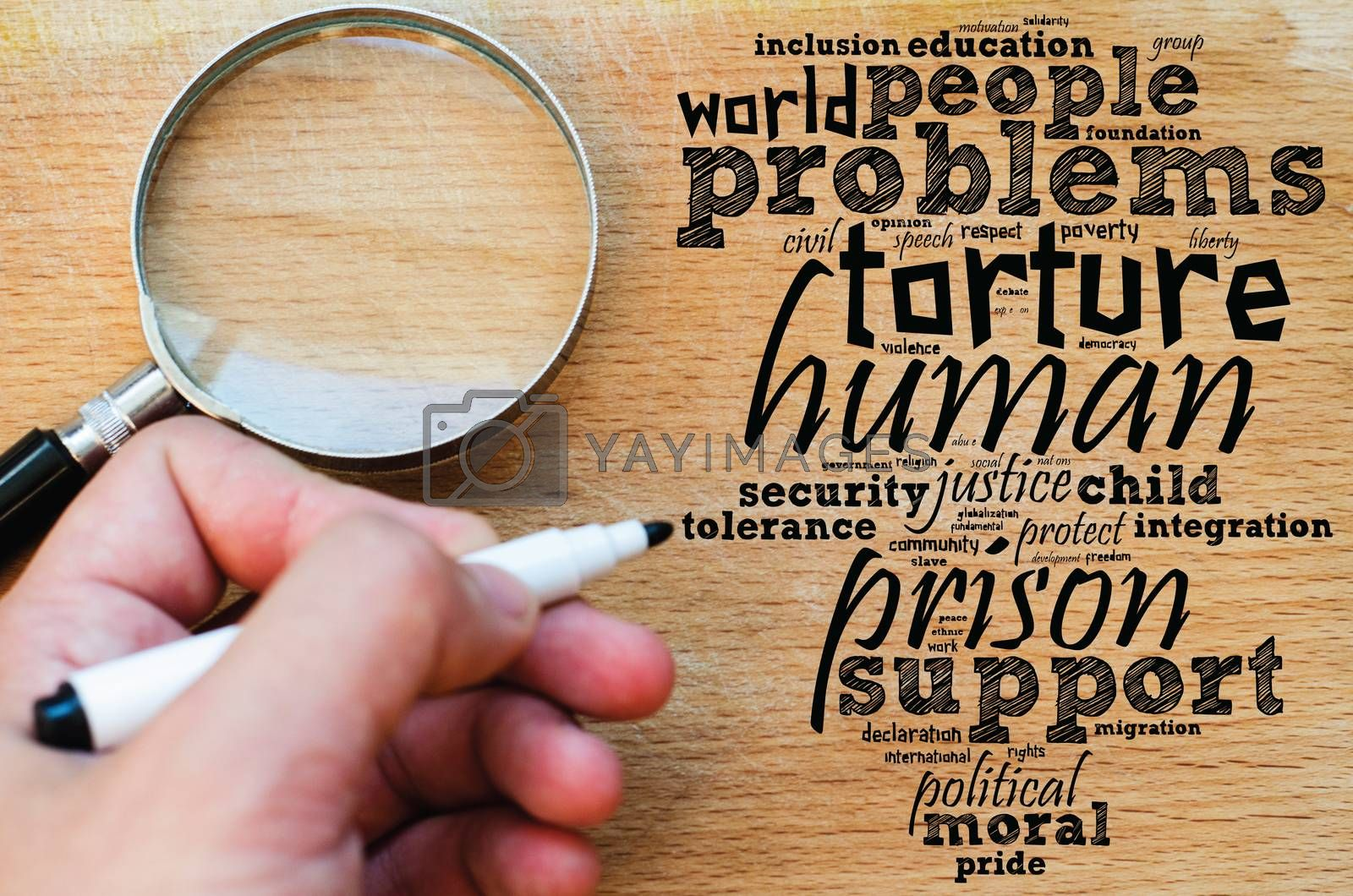 Human word cloud collage over wooden background