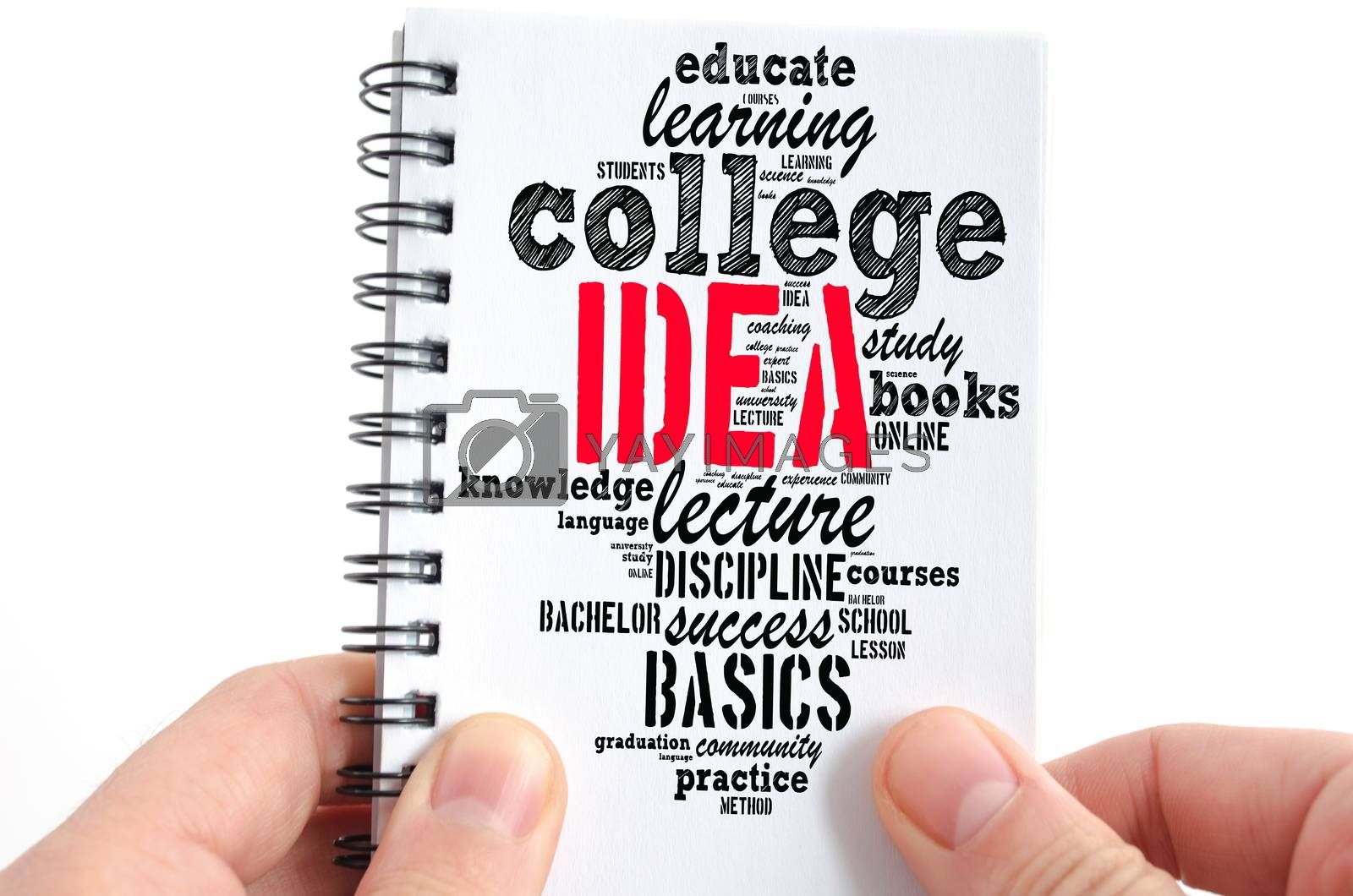 Idea word cloud collage over notepad background