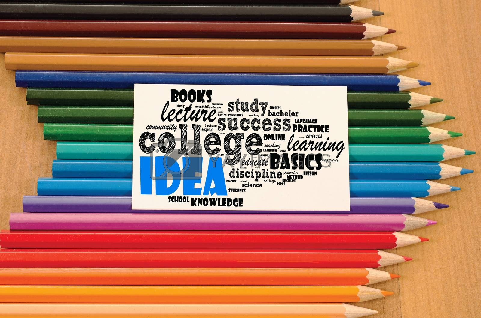 Idea word cloud collage over wooden background