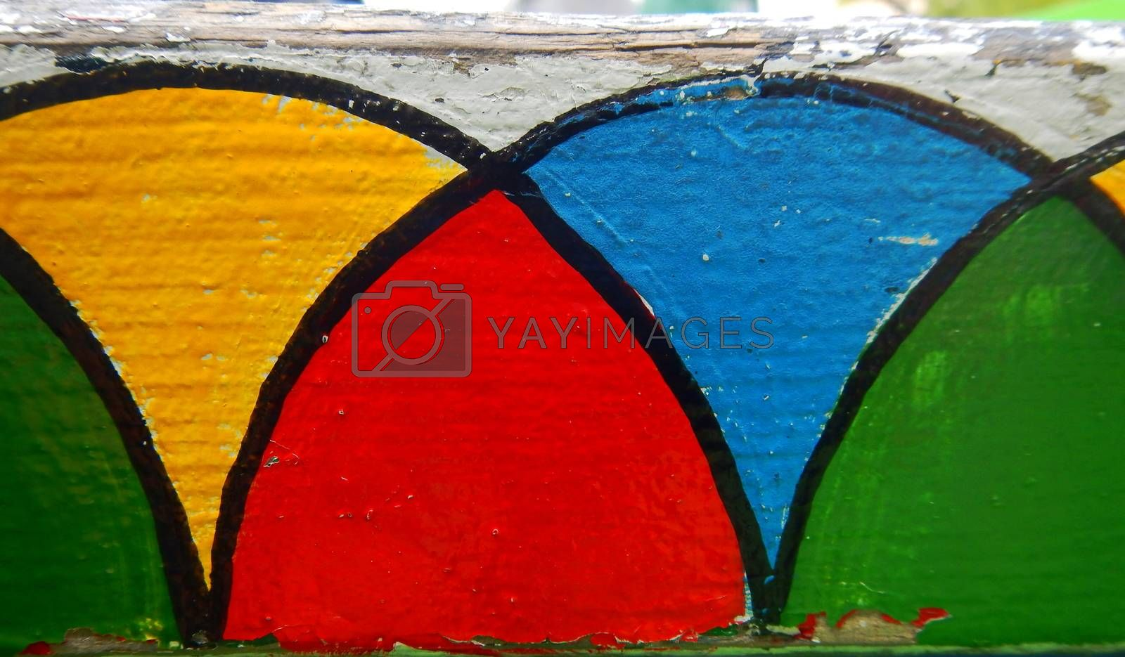 Background of colors on a wall from rounded figures of different colors