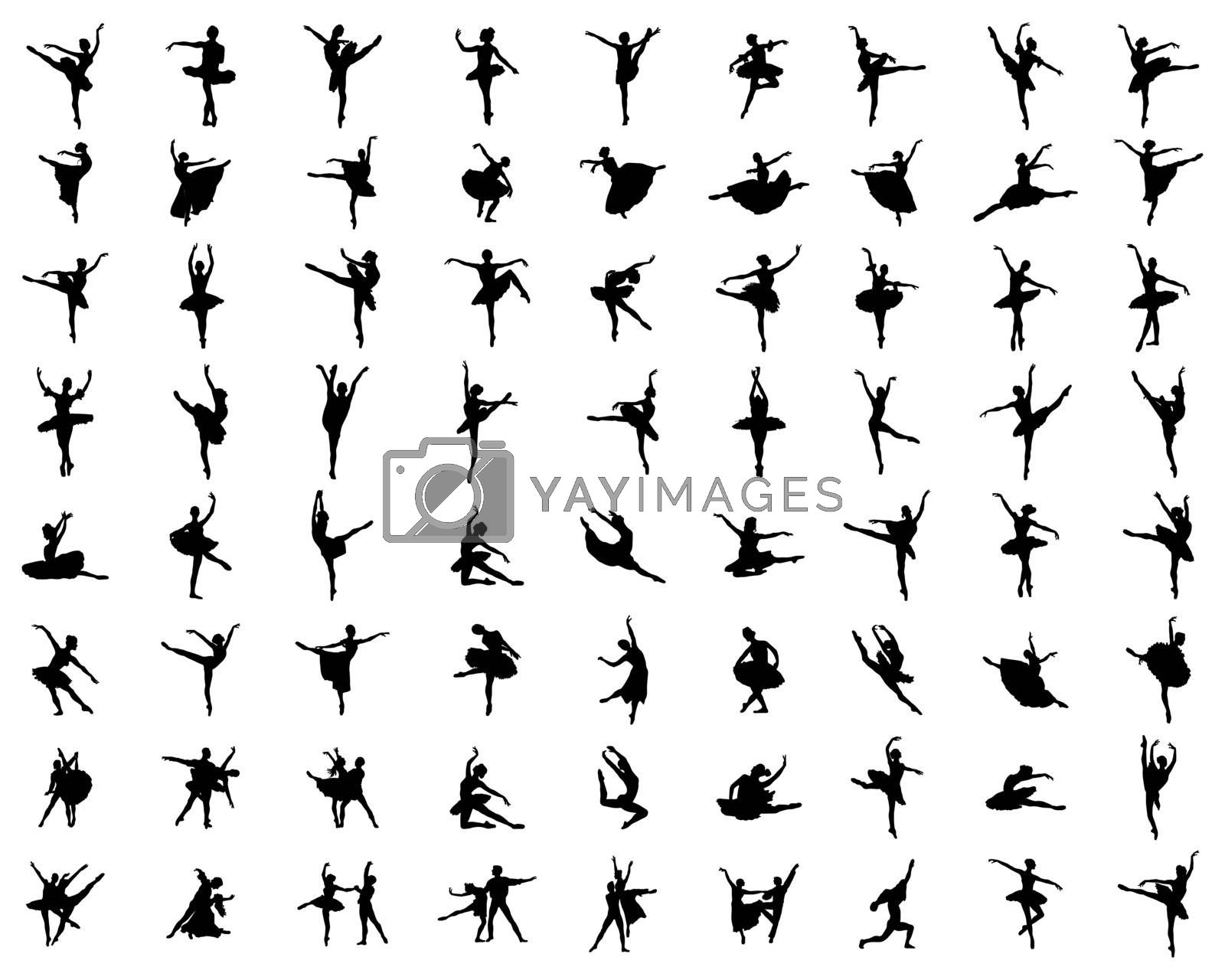 silhouettes of ballerinas by ratkomat
