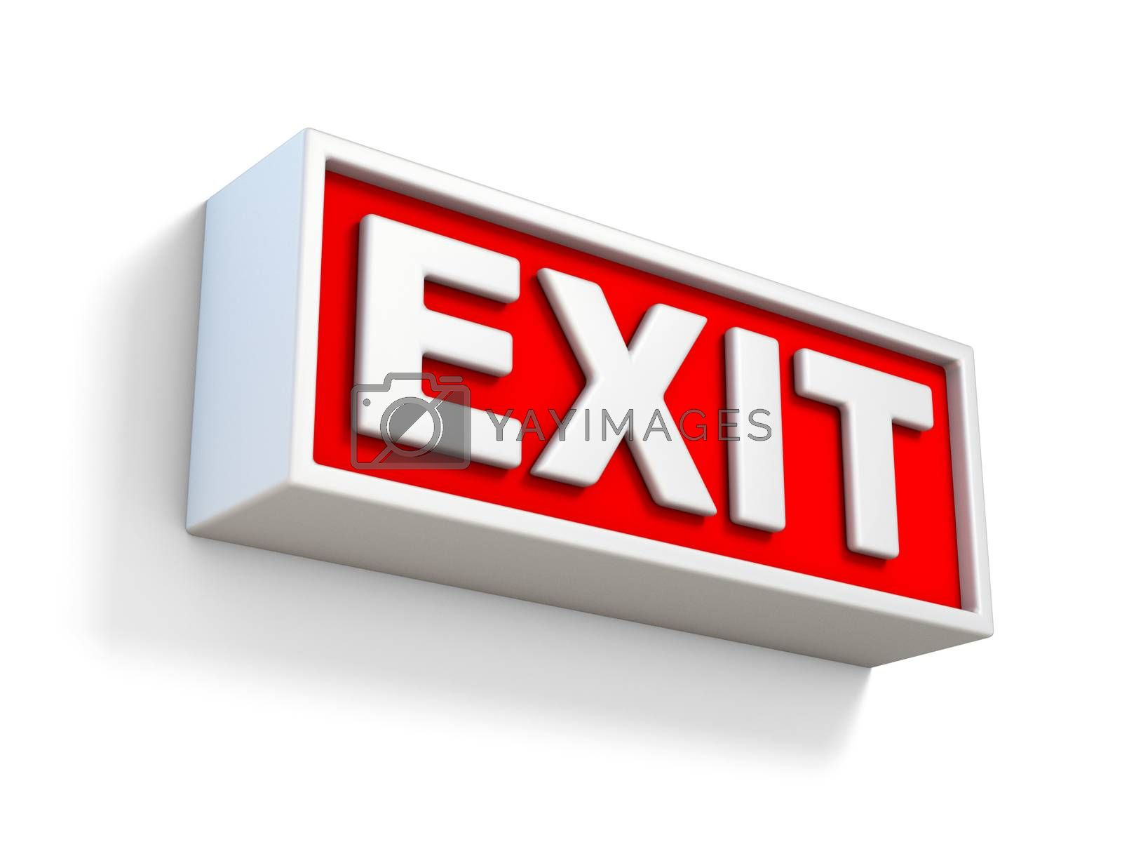 Red EXIT sign on white wall 3D by djmilic