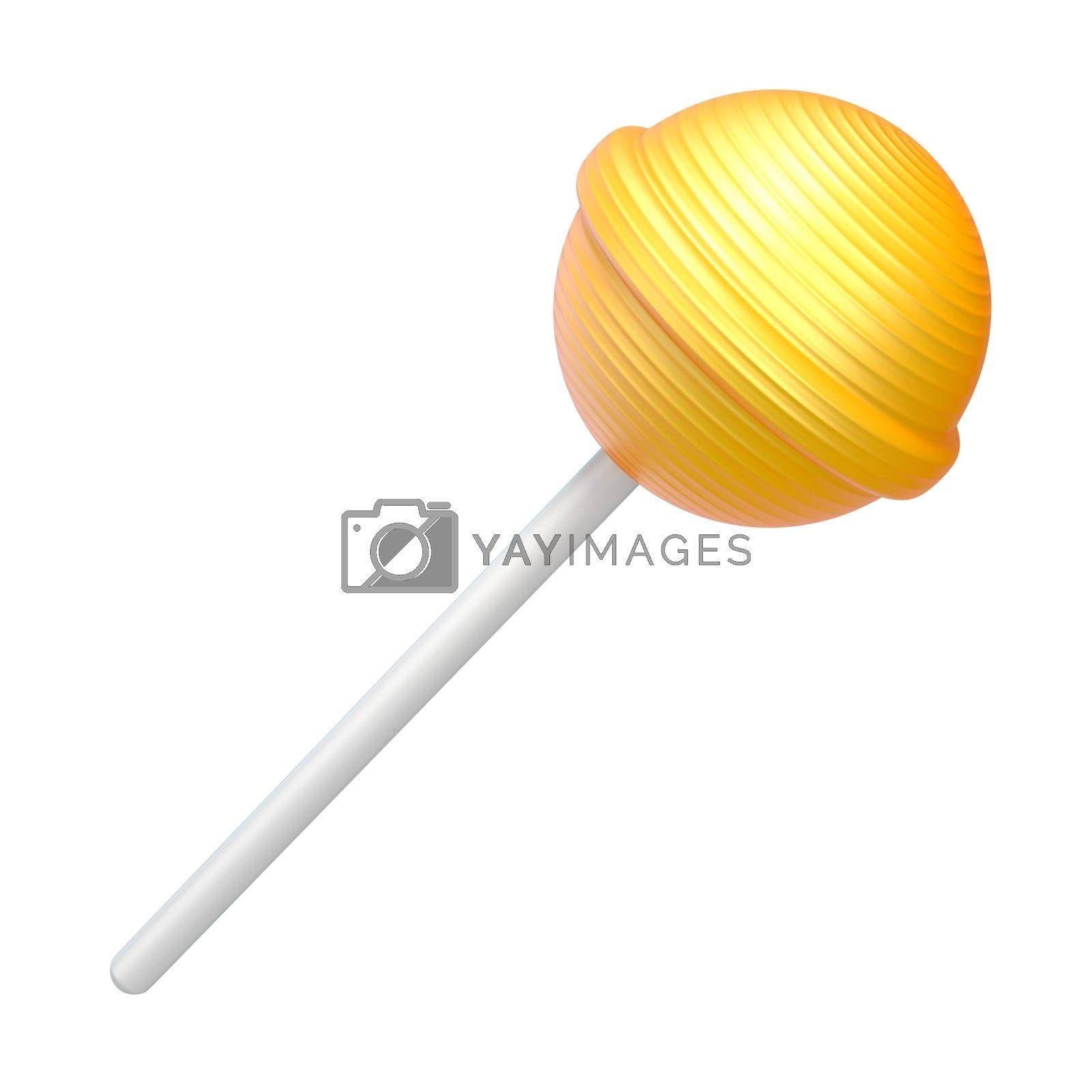 Yellow lollipop 3D rendering illustration on white background by djmilic
