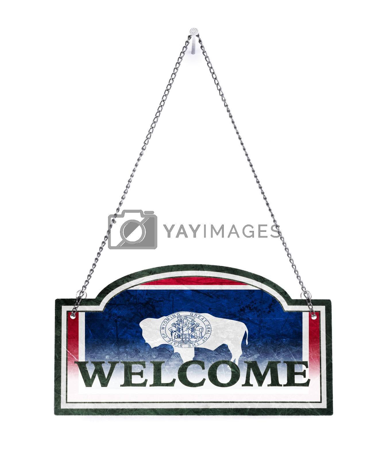 Wyoming welcomes you! Old metal sign isolated by michaklootwijk