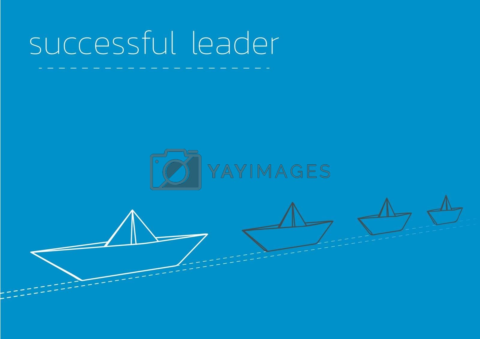 successful leader with a folded paper boat by muuraa