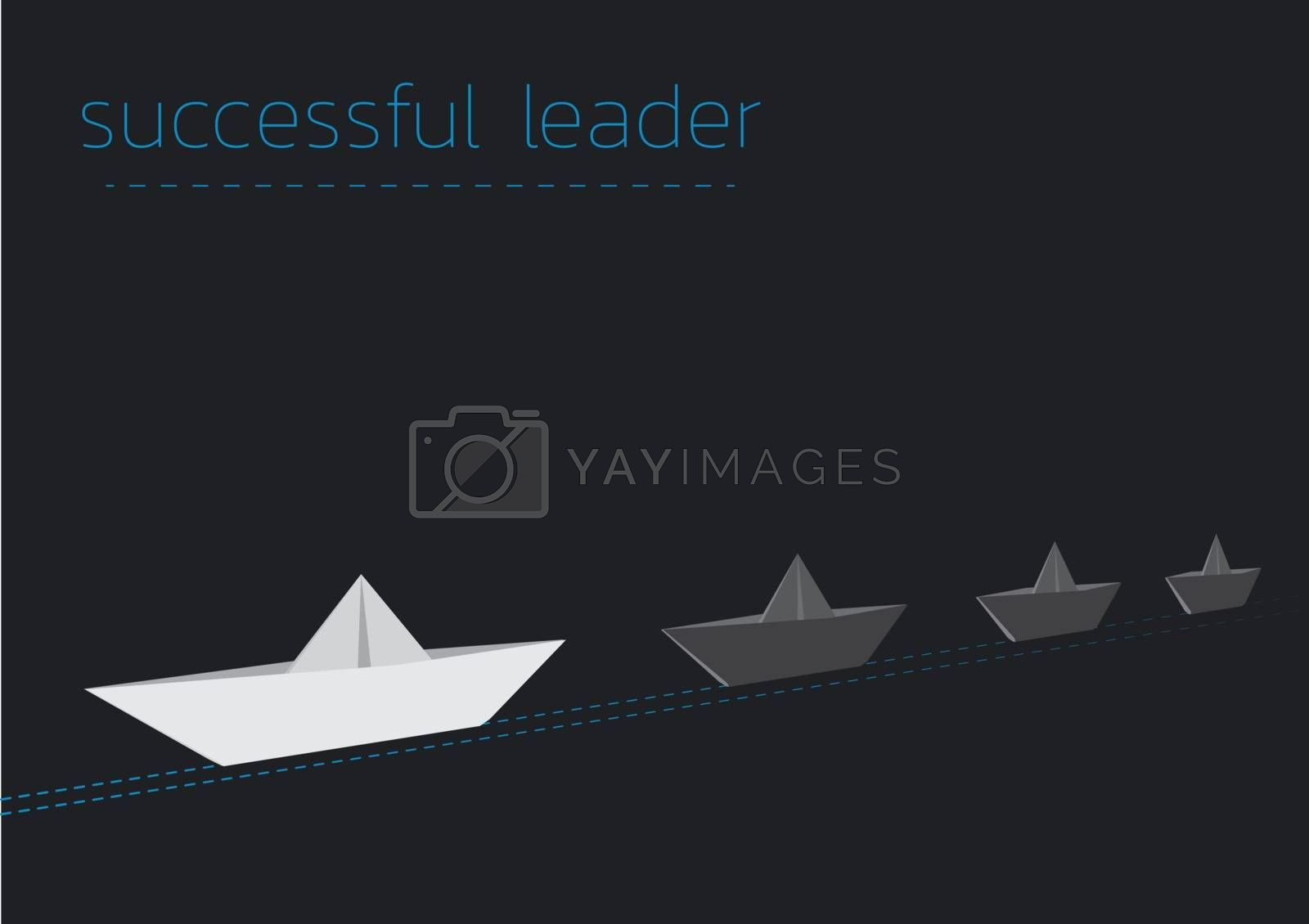 successful leader with a folded paper steamboat by muuraa