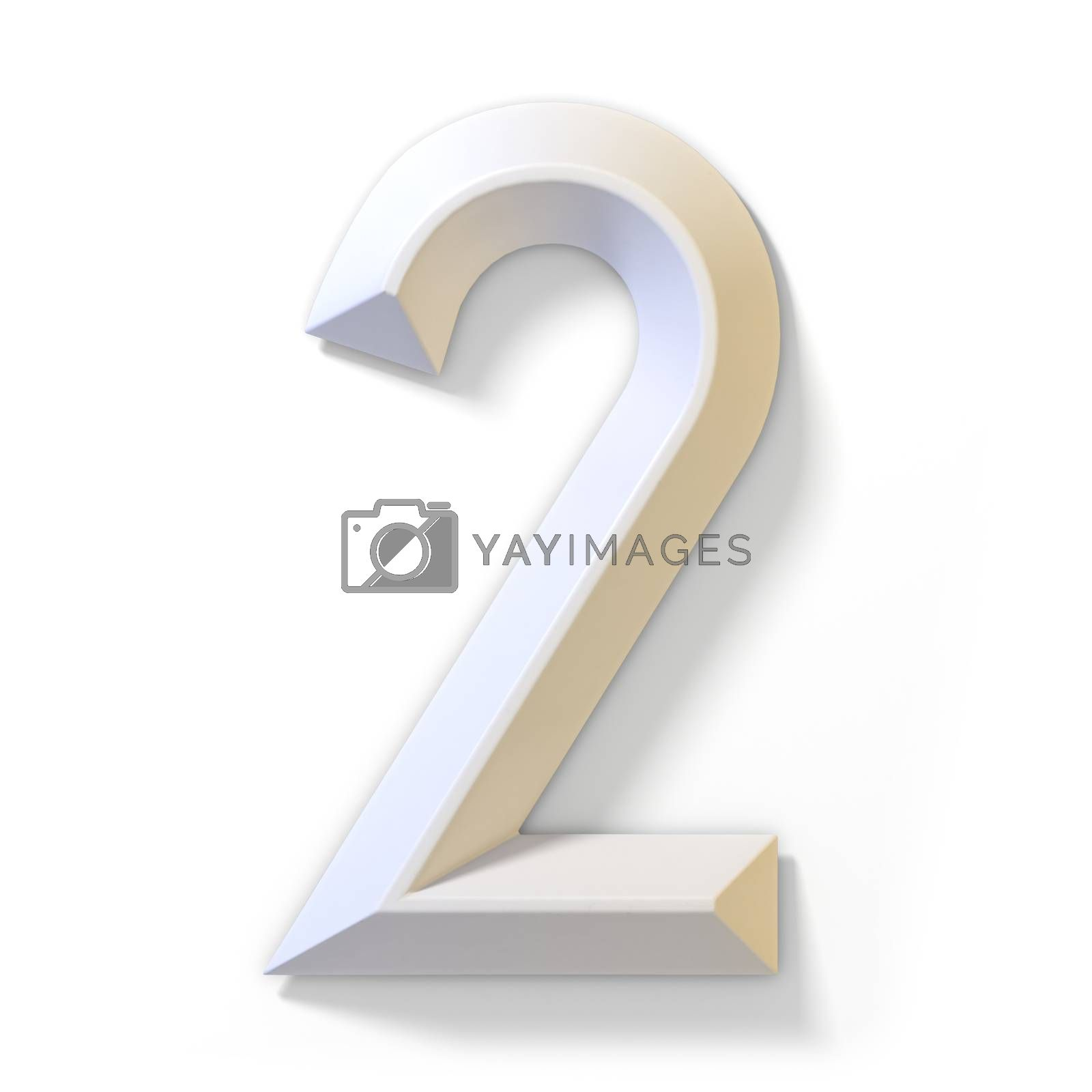 White dimensional font number 2 TWO 3D by djmilic