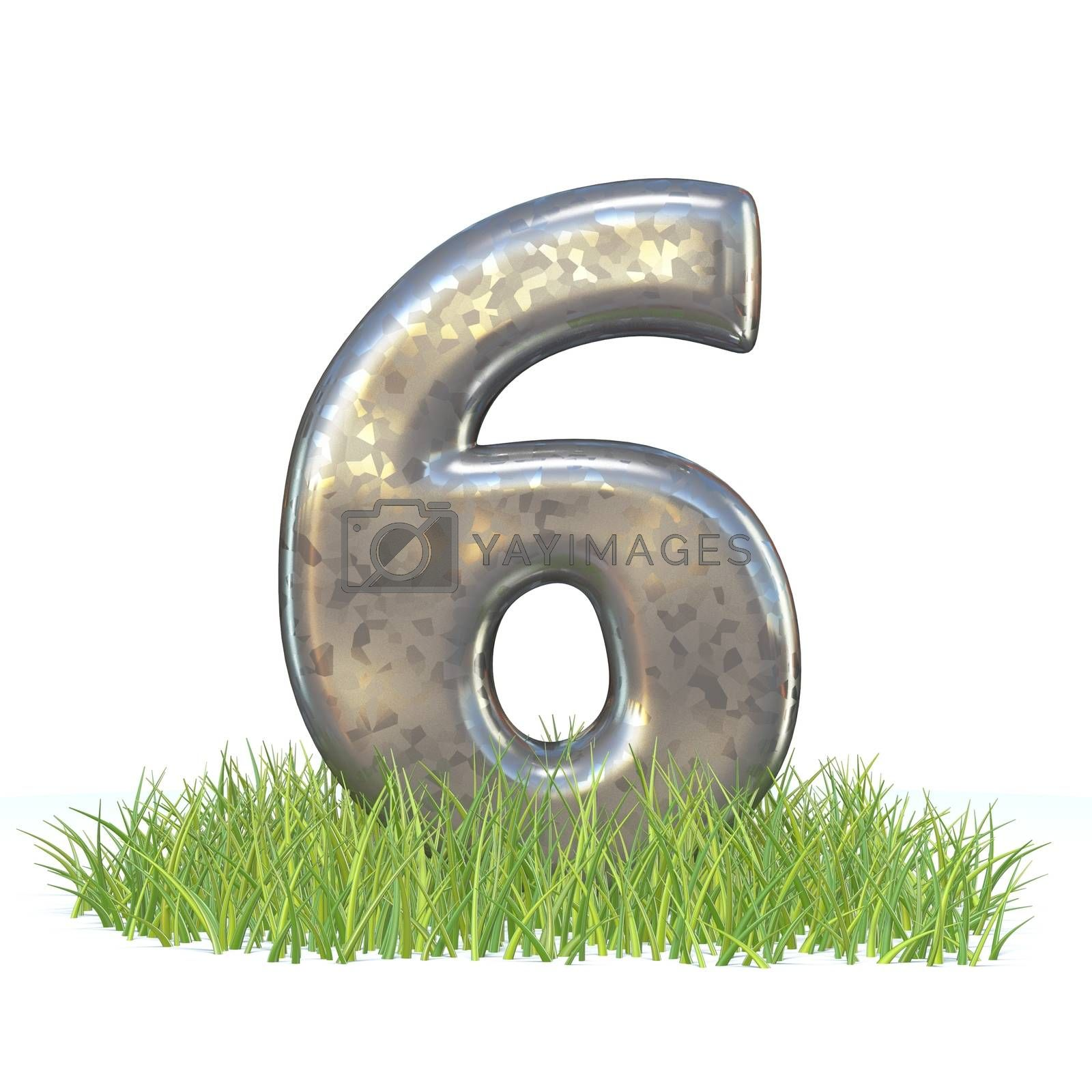 Galvanized metal font Number SIX 6 in grass 3D by djmilic
