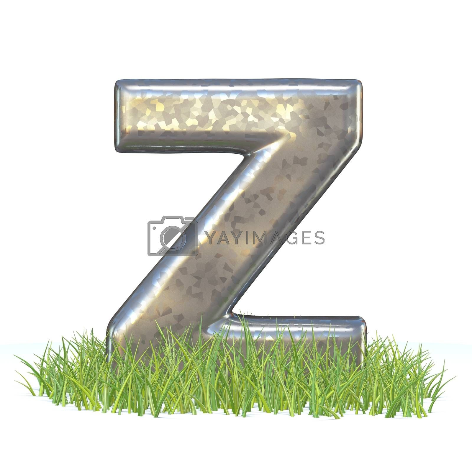 Galvanized metal font Letter Z in grass 3D by djmilic
