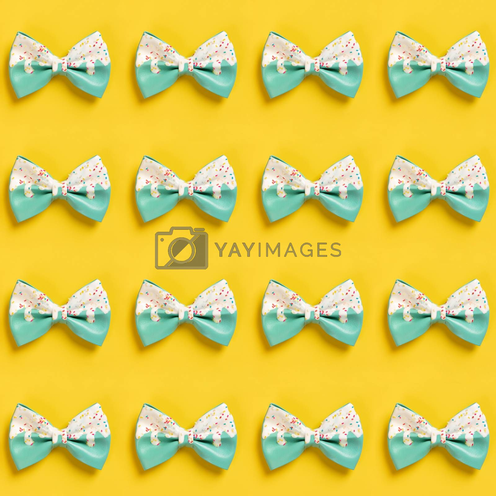 Cute hair bow pattern on bright background, flat lay by klenova