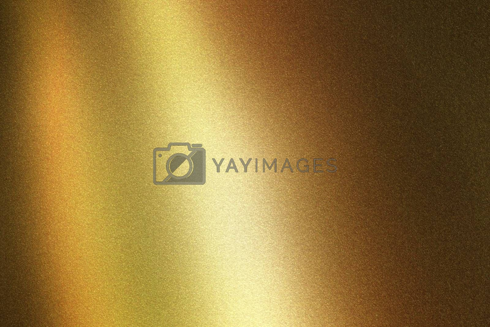 Light shining on bronze metallic wall in dark room, abstract texture background by mouu007