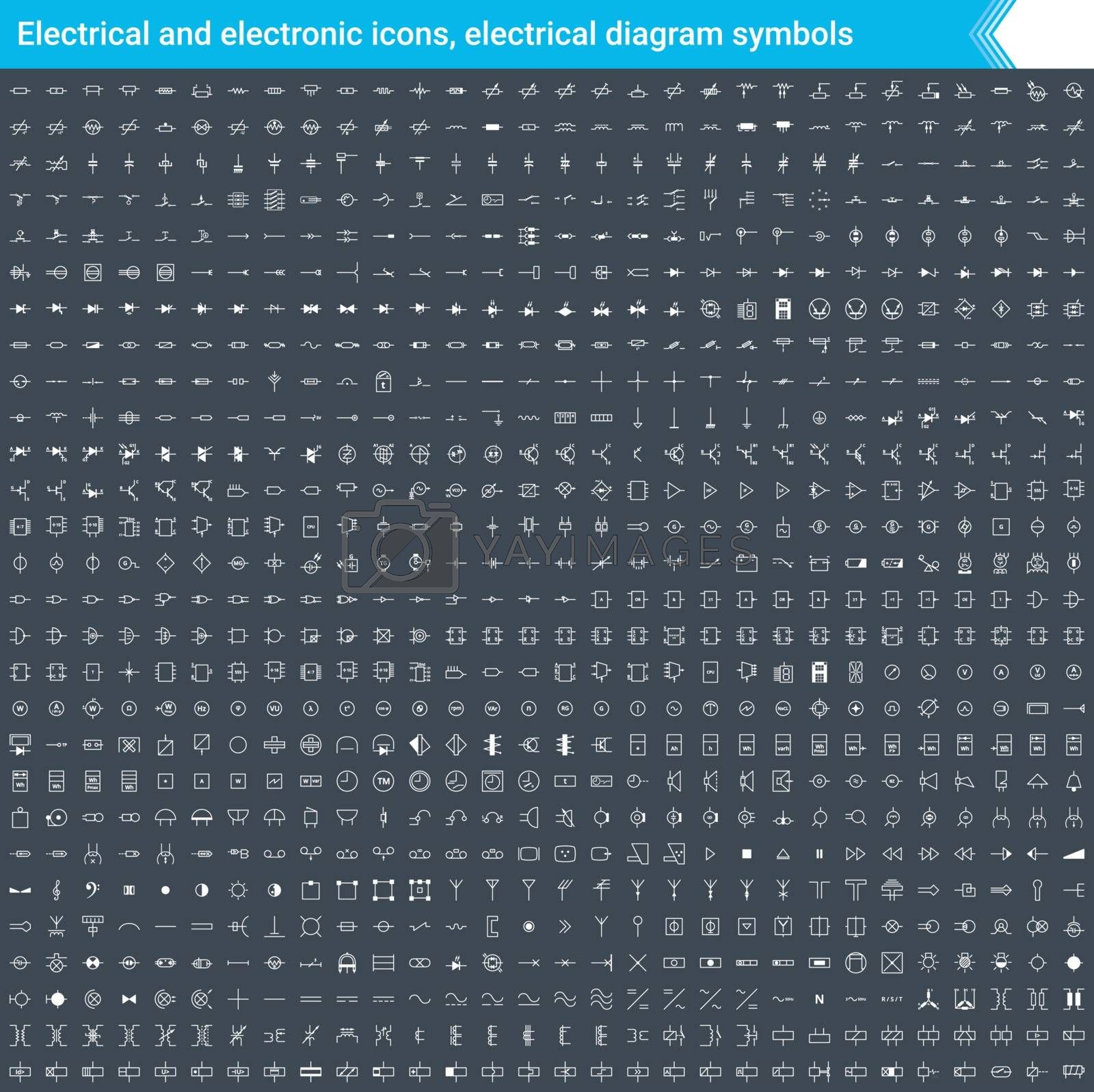 Electrical and electronic icons, electrical diagram symbols. Circuit diagram elements. Stoke, simple and thin vector icons isolated on dark background.