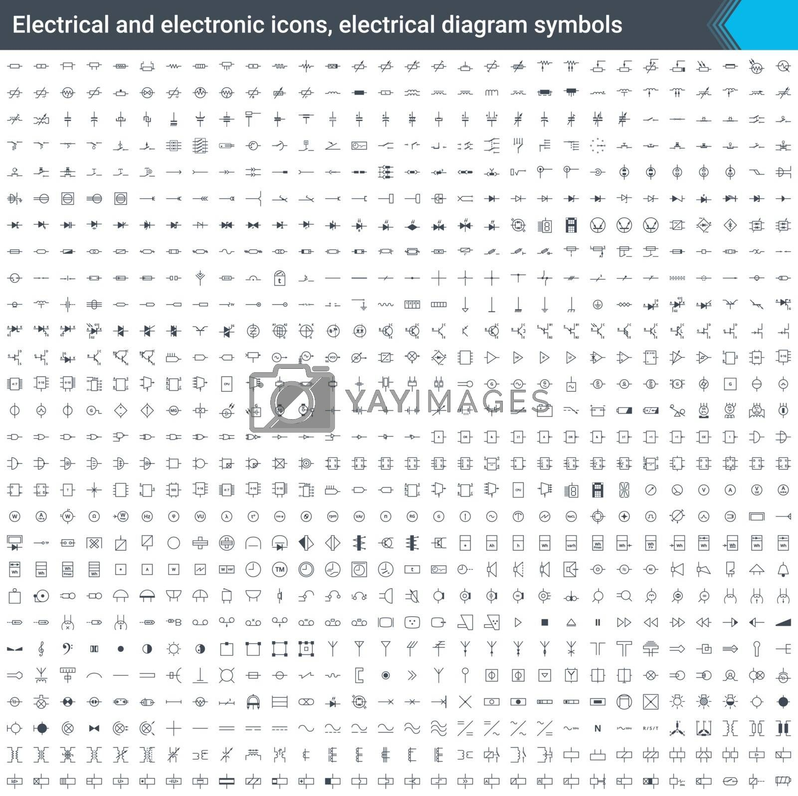 Electrical and electronic icons, electrical diagram symbols. Circuit diagram elements. Stoke, simple and thin vector icons isolated on white background.