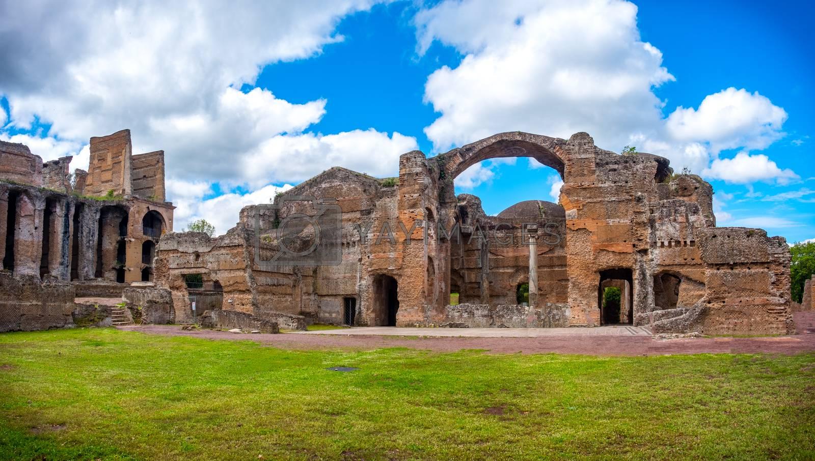 Grand Thermae or Grandi Terme area in Villa Adriana or Hadrians Villa archaeological site of UNESCO in Tivoli - Rome - Lazio - Italy .