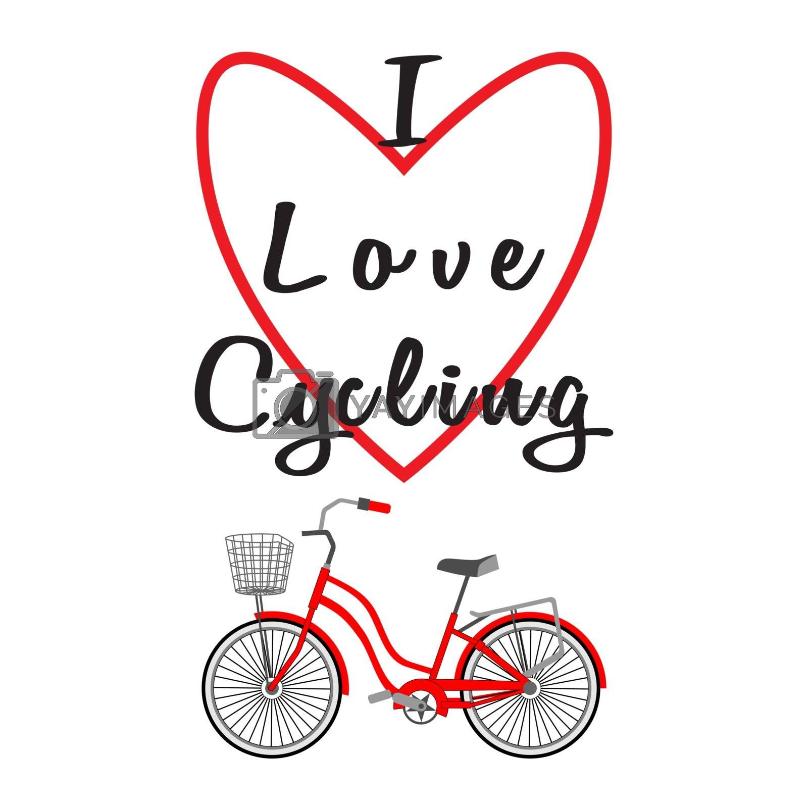 Bicycle with a basket. Lettering - I Love Cycling. Heart contour. Vector illustration on a white background. Modern flat style. Design for advertising, travel, bike shops, sport, outdoor activities.
