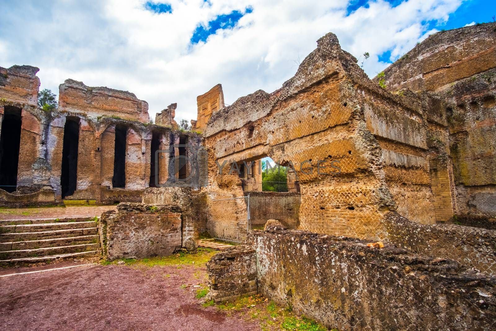 Tivoli - Villa Adriana in Rome - archaeological landmark in Italy .