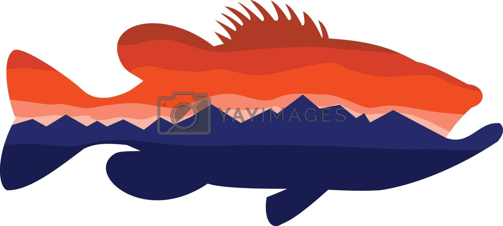 Retro style illustration of silhouette of a largemouth bass, a carnivorous freshwater gamefish in the Centrarchidae family, a species of black bass with mountains and sky inside silhouetted shape.