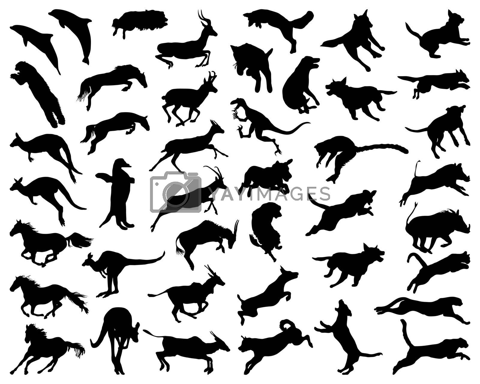 Black silhouettes of animals in a jump on a white background