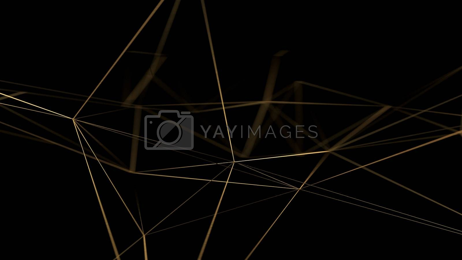 Gold lines on black background. Golden polygonal luxury network shine glitter design. 3D render